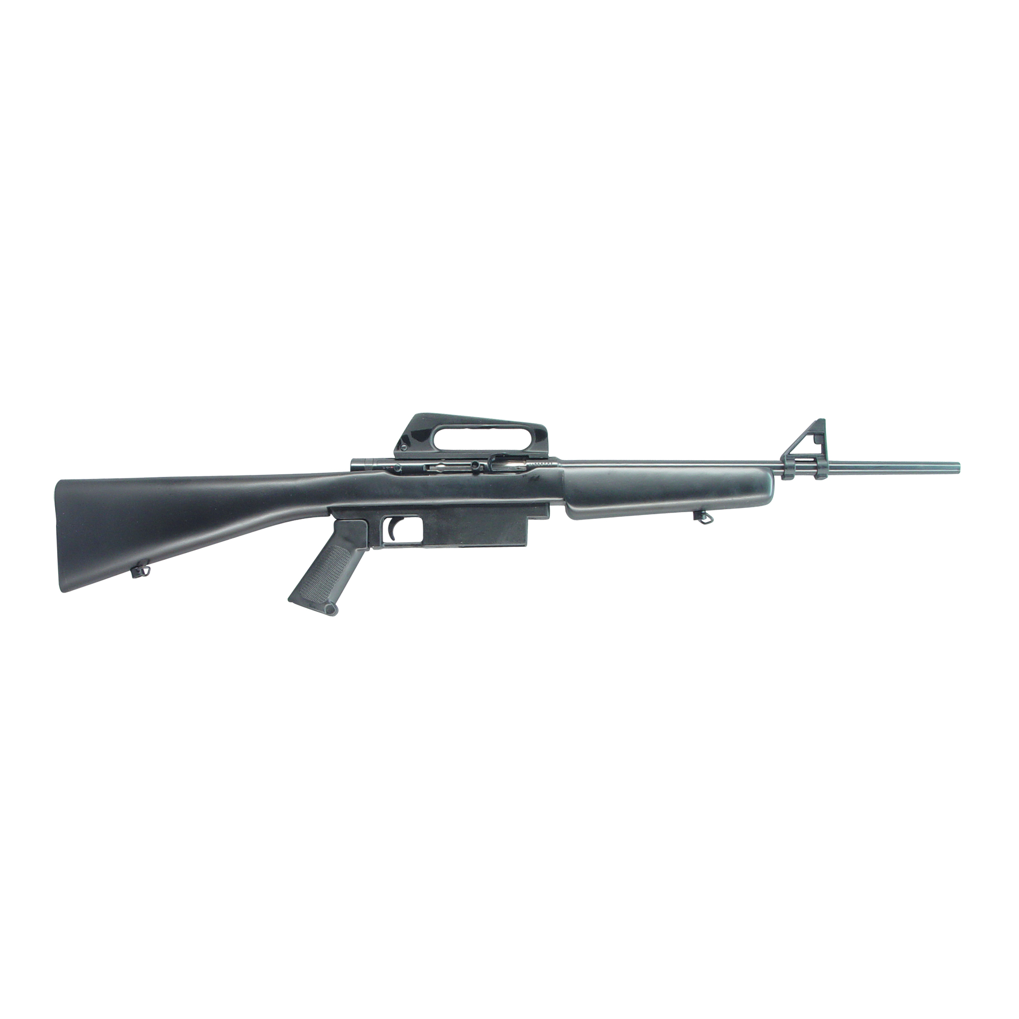 """The M1600 Semi Automatic rifle is an AR15 style 22LR tactical rifle. The M1600 is suppressor-ready and includes a rear peep sight"""" A2 style front sight and pistol grip."""
