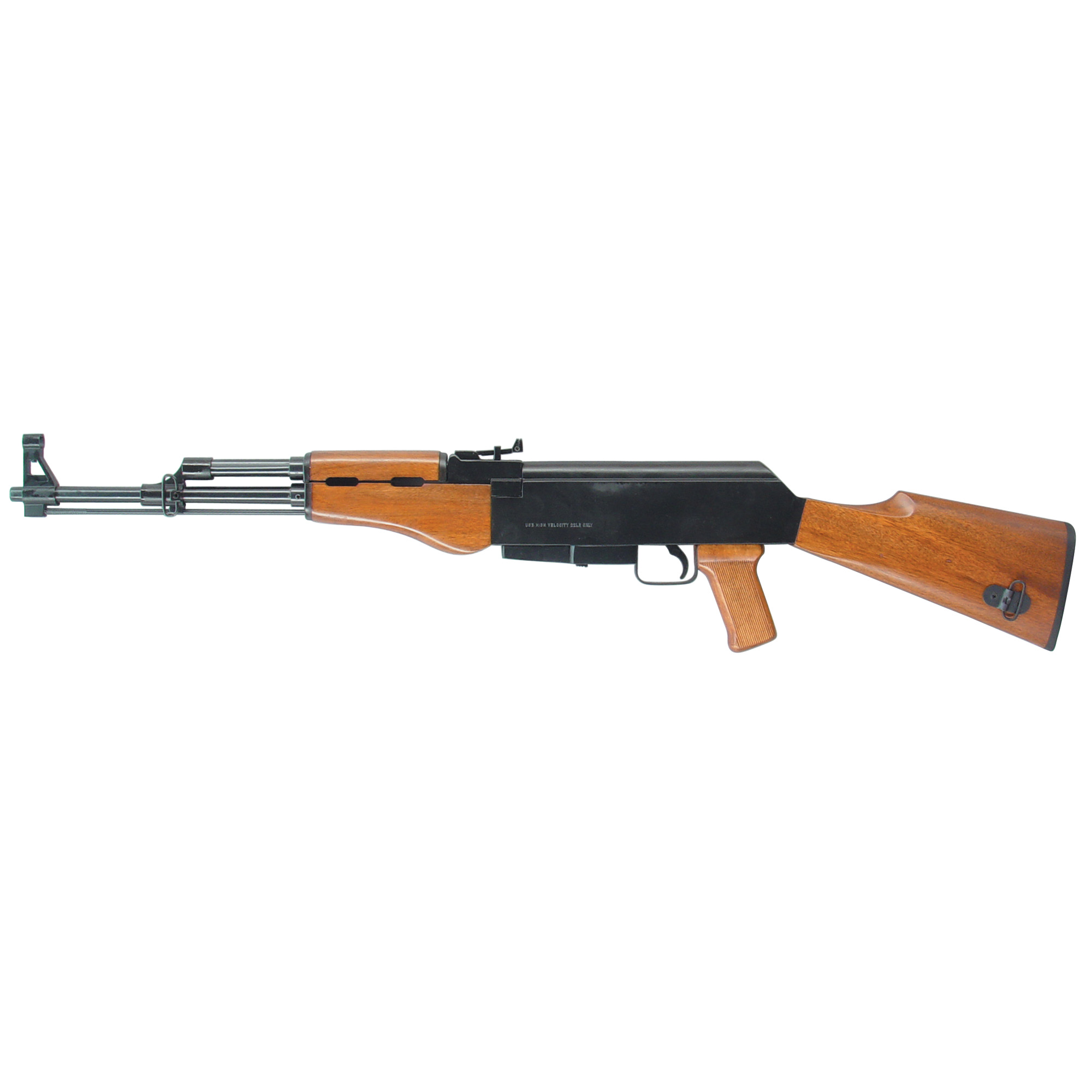 """The MAK22 SA is a .22 Long Rifle equipped with an 18.25"""" barrel"""" blue finish"""" wood stock and pistol grip. The AK22 is outfitted with a post front sight and an open U-notch with elevation adjustments."""