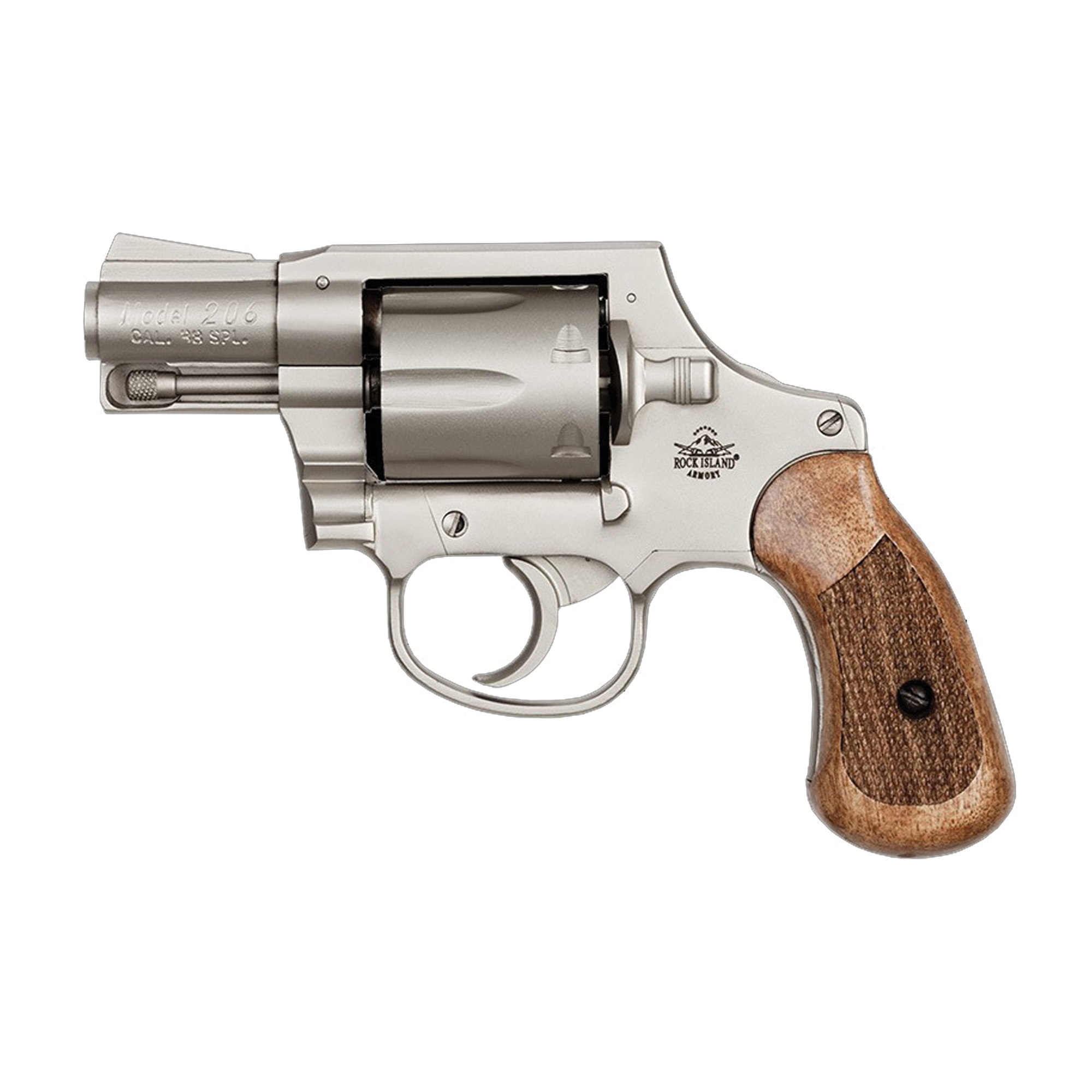 Reliability and durability come standard in the Rock Island revolver series. Each is built from solid steel with a fixed front sight and smooth channel frame-cut rear sight.
