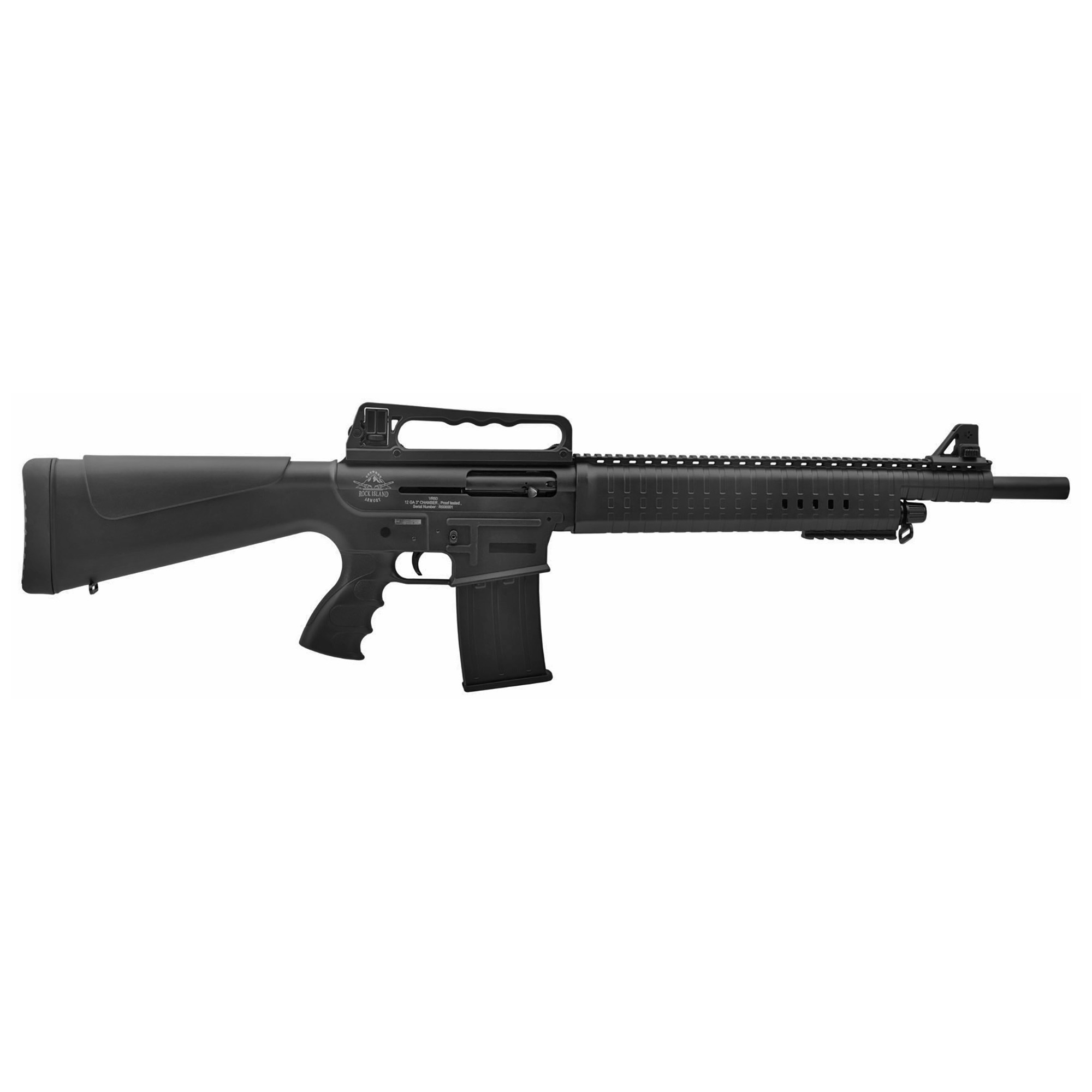 The ultimate design and features of an AR semi-automatic shotgun using a conventional gas-operated action which is located around the support tube that runs below the barrel. The return spring is also located around the same support tube which is concealed by an enlarged polymer handguard.