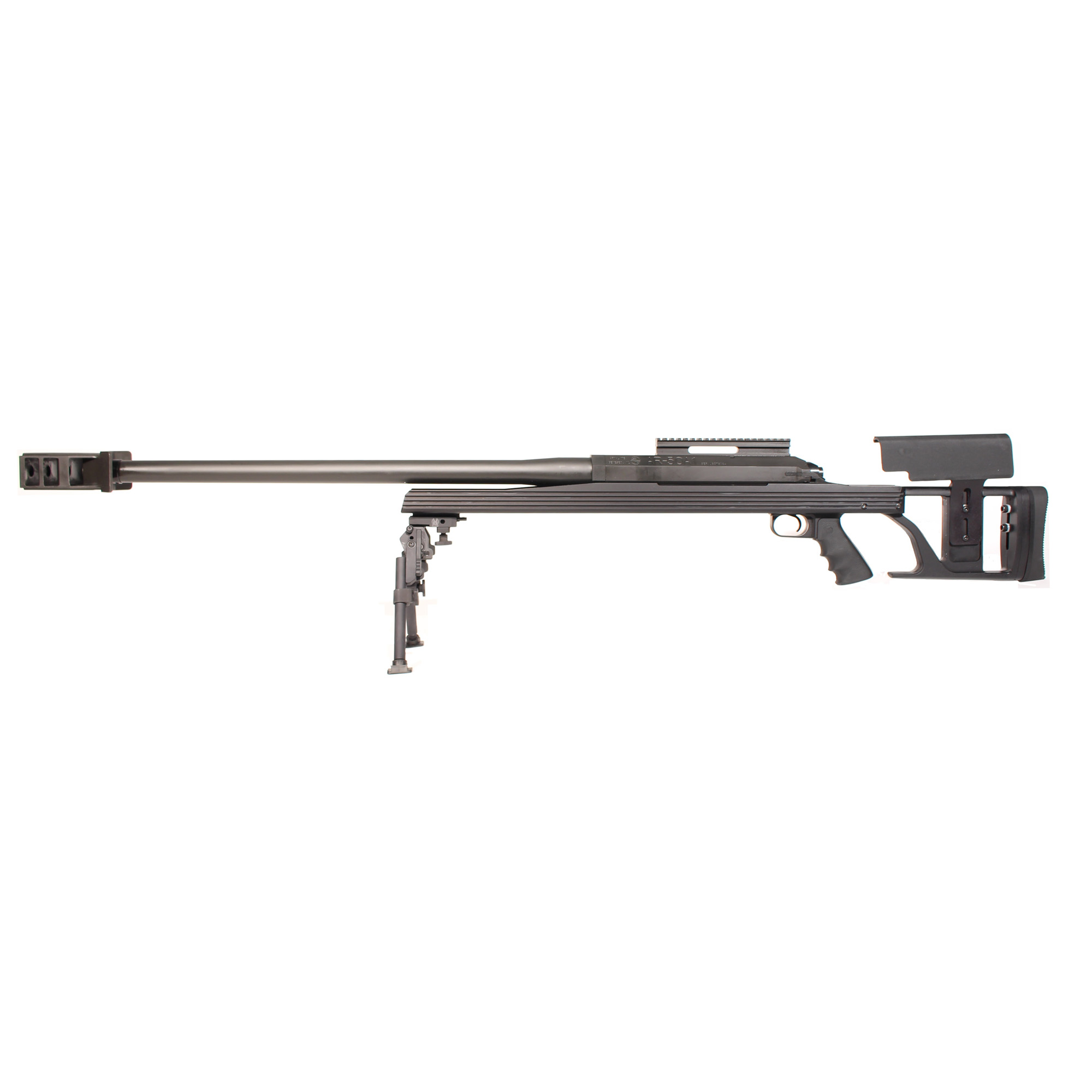 """This rifle is the newest incarnation of the wildly popular AR-50 chambered for the powerful .50BMG cartridge - a single-shot"""" bolt-action rifle featuring a unique octagonal receiver bedded down into a V-shaped stock. Designed to be an economical answer for the challenges of long range shooting"""" the AR-50A1 is amazingly accurate and with its massive muzzle brake"""" it has a very manageable recoil."""