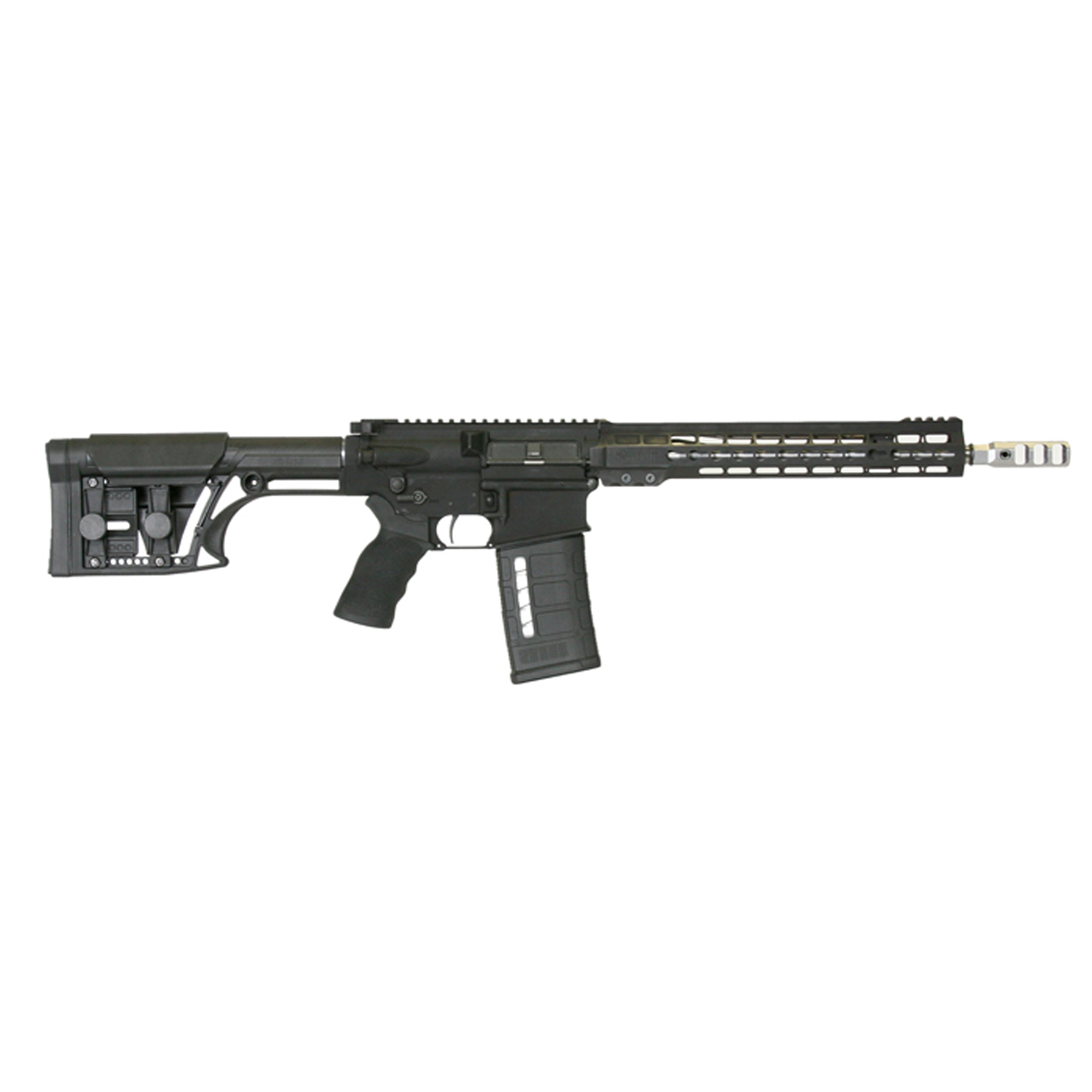 """Purpose built for 3-Gun and practical rifle competition"""" the AR103GN13's are ready to dominate"""" right out-of-the-box. A Timney 4-lb."""" single-stage trigger and Ergo wide grip come standard. The light weight MBA-1 buttstock features an adjustable cheek piece and length-of-pull. The factory ambidextrous safety and Raptor charging handle provide ease of operation for all types of shooters."""