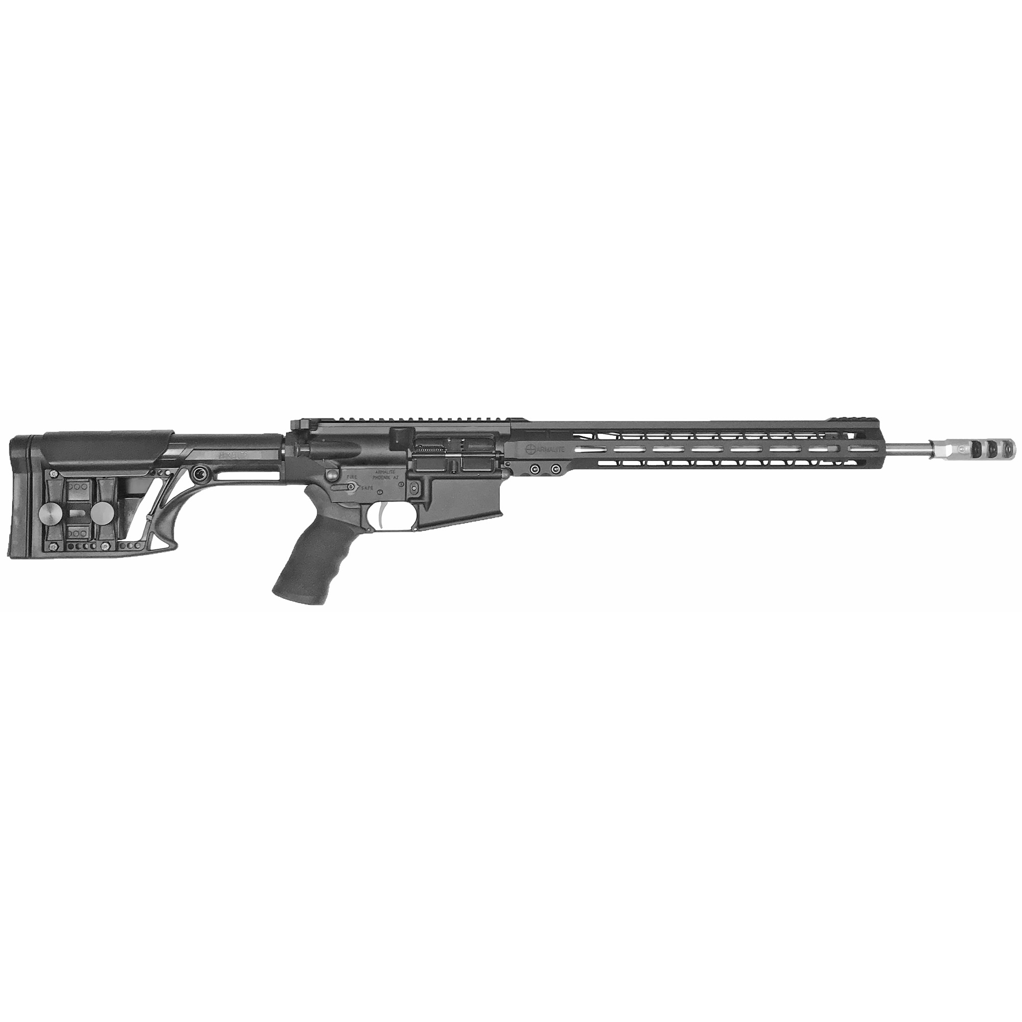 """Purpose built for 3-Gun and practical rifle competition"""" the AR103GN18's are ready to dominate"""" right out-of-the-box. A Timney 4-lb."""" single-stage trigger and Ergo wide grip come standard. The light weight MBA-1 buttstock features an adjustable cheek piece and length-of-pull. The factory ambidextrous safety and Raptor charging handle provide ease of operation for all types of shooters."""