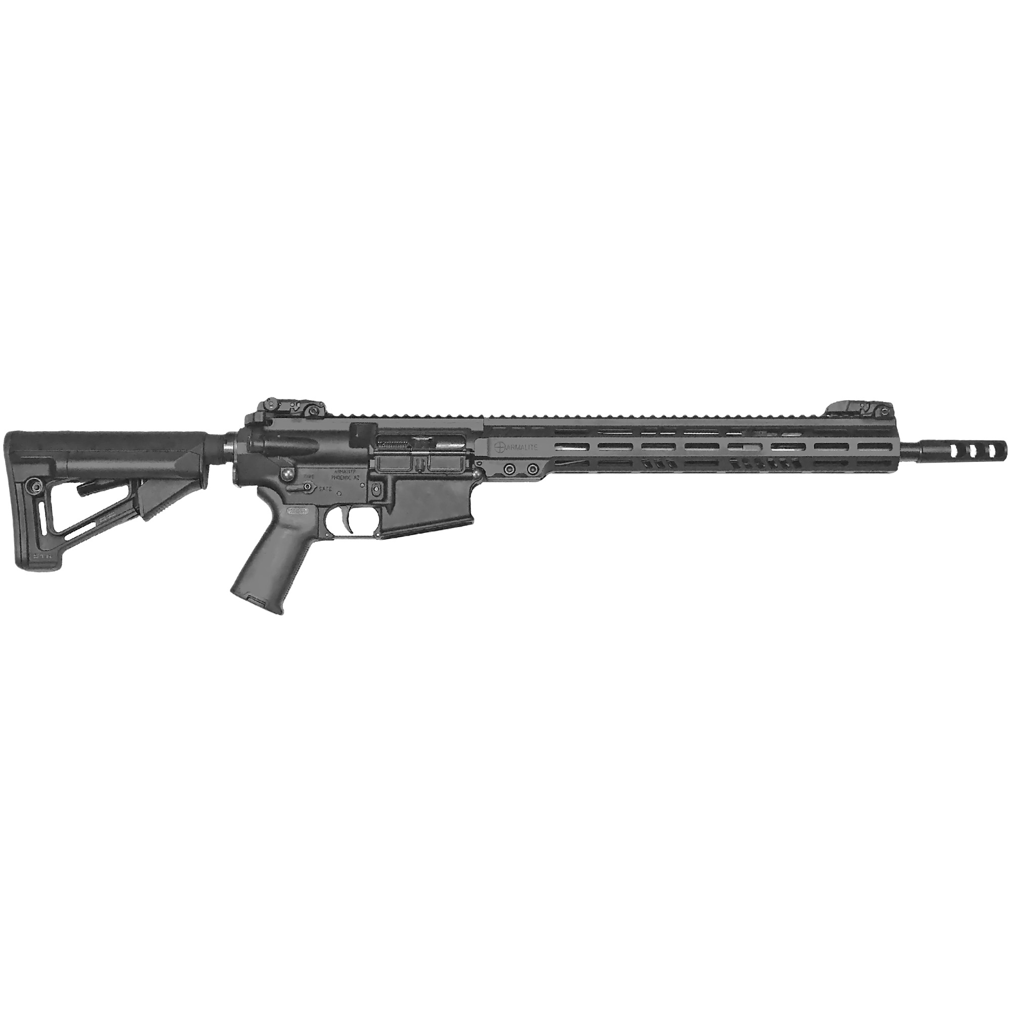 """The perfect tool for duty and defense. All Armalite Tactical Series rifles come equipped with MAGPUL MBUS flip-up sights and MOE+ pistol grips. The dual-purpose flash hiding compensator tames recoil while reducing signature. The sturdy 15"""" tactical Key-Mod handguard provides ample hand placement and a full-length MIL-STD 1913 12 o'clock rail for sights an accessories. An adjustable gas block also allows the rifle to be individually tuned for optimal performance for your choice of ammunition and/or suppressor use."""