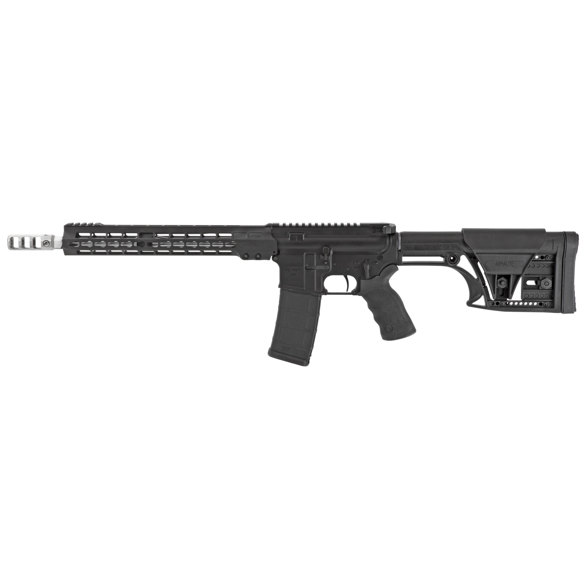 """Purpose built for 3-Gun and practical rifle competition"""" the M153GN13 is ready to dominate"""" right out-of-the-box. A Timney 4-lb."""" single-stage trigger and Ergo wide grip come standard. The light weight MBA-1 buttstock features an adjustable cheek piece and length-of-pull."""