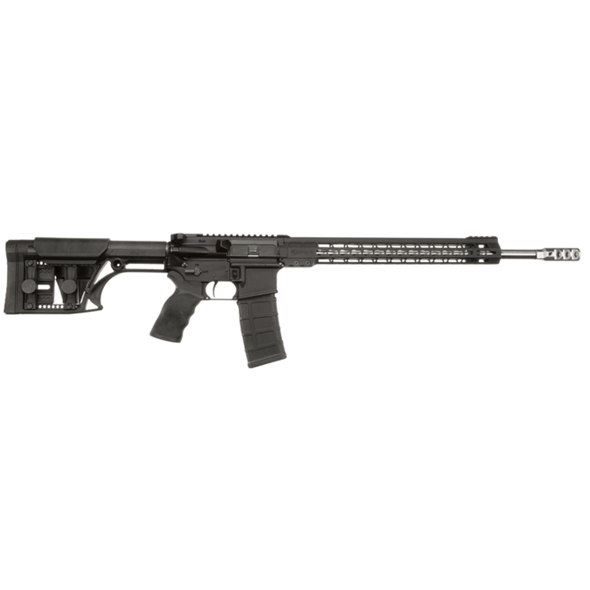"""Purpose built for 3-Gun and practical rifle competition"""" the M153GN18 is ready to dominate"""" right out-of-the-box. A Timney 4-lb."""" single-stage trigger and Ergo wide grip come standard. The light weight MBA-1 buttstock features an adjustable cheek piece and length-of-pull."""