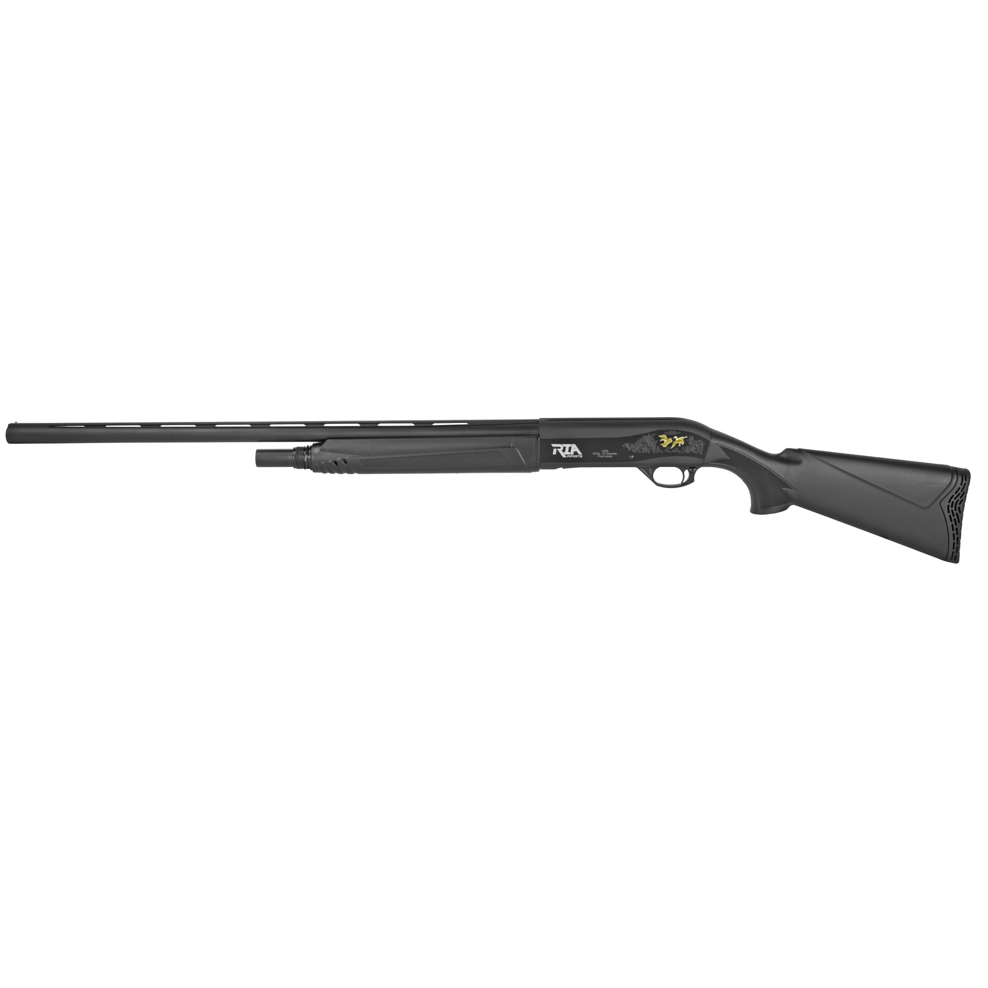 """The P-100 is a semi-automatic shotgun that features a 28"""" barrel"""" synthetic stock"""" black anodized finish and a 3"""" chamber."""