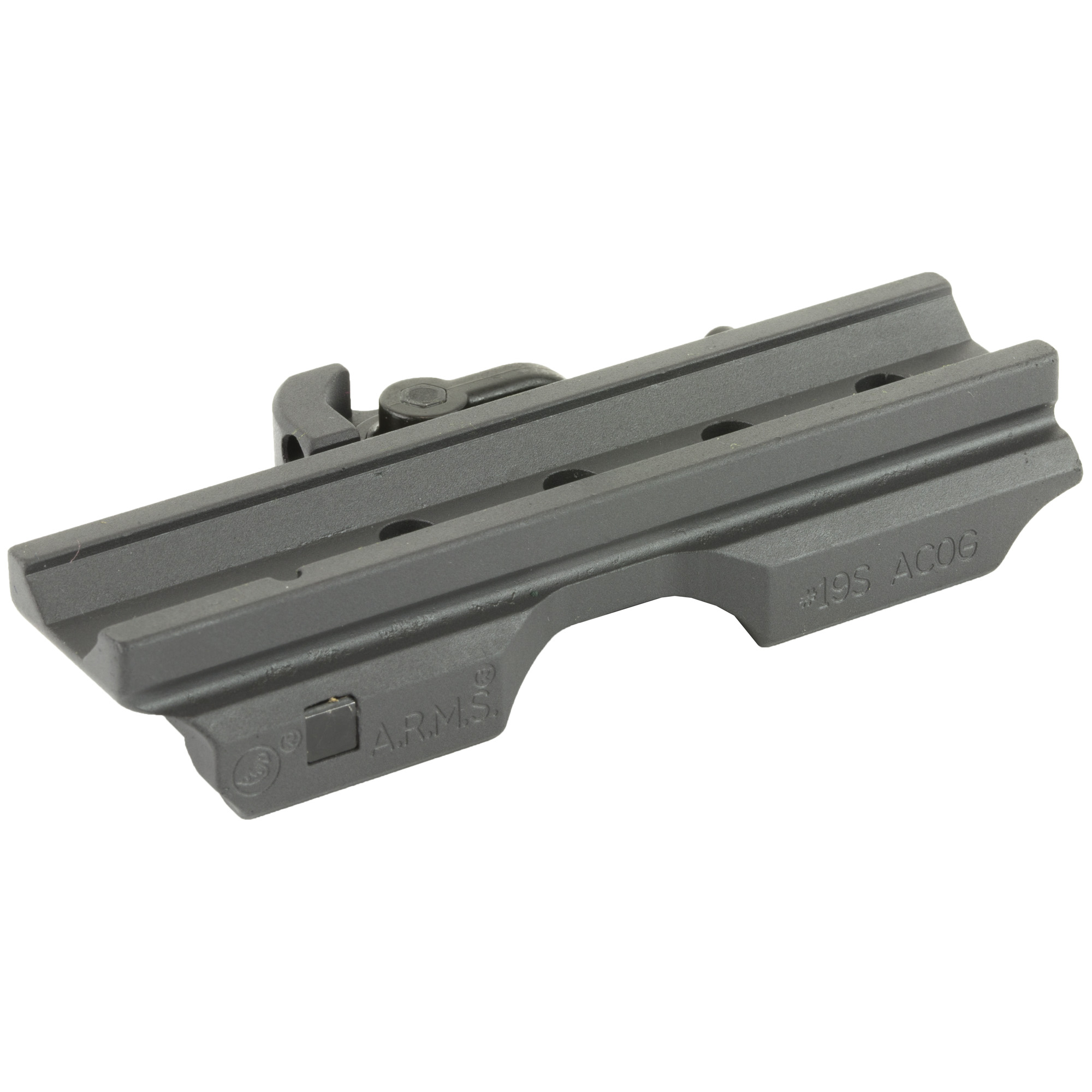 """The #19(TM)S ACOG(R) is a compact single Throw Lever(R) base that is the same length as the built in M16 carry handle mounting platform (approx. 4"""") found on all ACOG(R) scopes. The smaller design provides more available rail space"""" less weight and no compromise in accuracy or ruggedness. US Pat. No. 5276988"""" 7493721"""