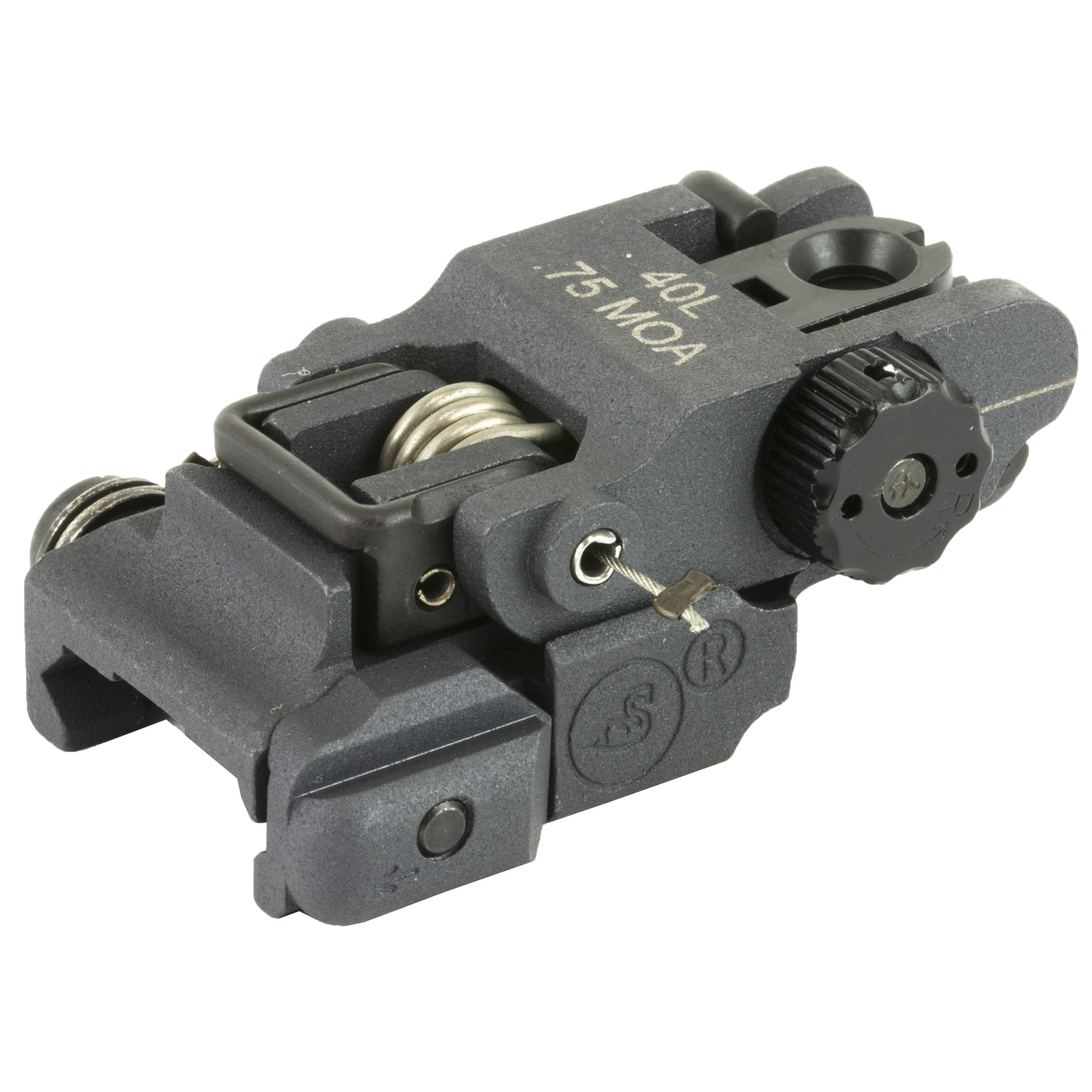 """The #40(TM)L has all the features of their excellent 40A2 sight"""" but has a lower profile"""" allowing more clearance for mounting optics to your flat-top receiver and allows lower mounting"""" miniaturized windage knob with .75 MOA adjustment and a very new and unique dual aperture. Folded height is only .610""""."""
