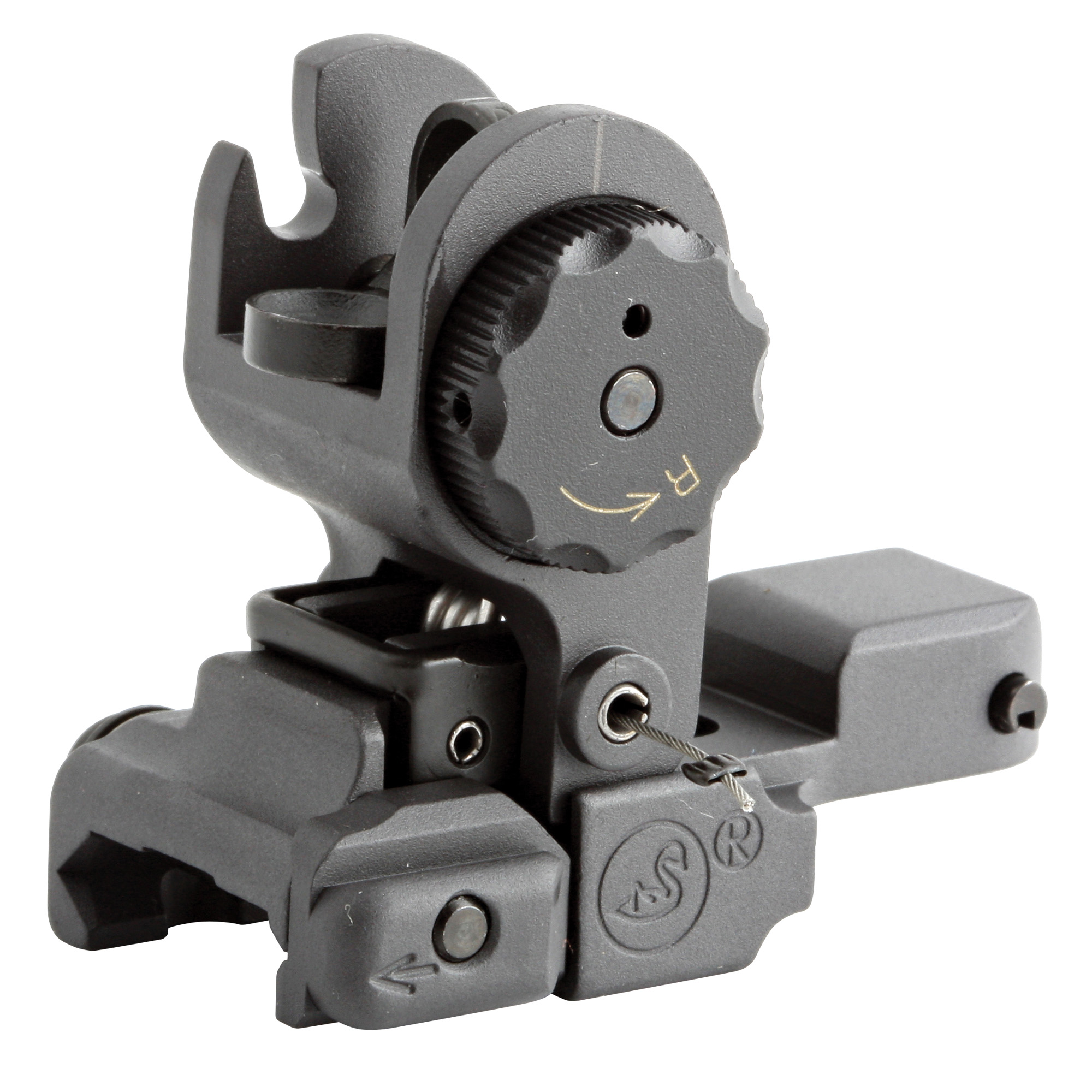 """The A.R.M.S.(R) #40(TM) Stand Alone Flip-Up Sight utilizes the same well proven concept as the rear sight on the Swan(R) Sleeve System. The unique design of the spring loaded rear sight ensures constant in battery action and repeat zero. The sight is held in the locked down position by a quick release lever"""" that prevents the sight from being accidentally engaged"""" but is as fast as a trigger to release even with arctic mittens. Has horizon line notch"""" 500-600 meter sight. Windage adjustments .75 MOA."""