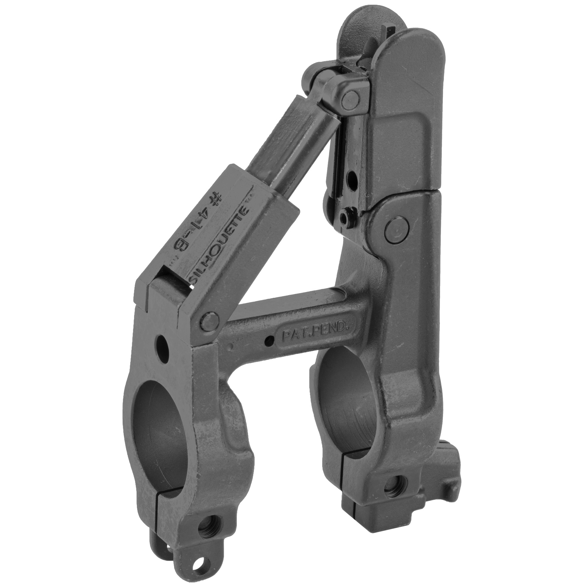 """The NEW A.R.M.S.(R) #41(TM)-B-L SILHOUETTE(TM) Front Folding Sight solves the problem of trying to fold the well known triangle shape of the conventional non folding front sights. Barrel mounted in place. Utilizes a rugged spring loaded angled support system to eliminate getting caught up in brush and other combat hazards. Made of steel and also uses the standard front sight post. Folding Front Sight with integral gas block. Fits Standard size AR15 (750) barrel"""" and has bayonet lug."""