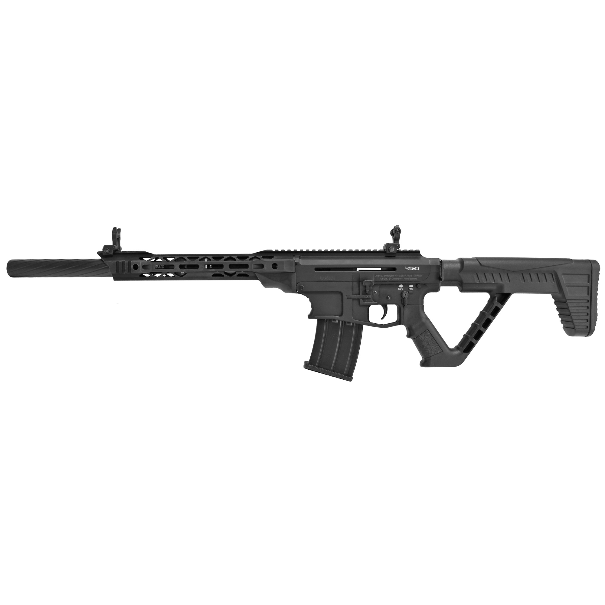 """This gas-operated semi-automatic 12GA shotgun has an upper and lower receiver constructed from 7075 T6 aluminum. The VR80 offers familiar AR-15 ergonomics and controls so you don't need to re-train your mechanics when running 3 gun or out blasting targets. Its magazine fed with 5+1 round capacity of 2 3/4"""" and 3"""" shells. Its capability and versatility make the VR80 a clear leader in semi-automatic mag fed shotguns for a fraction of the price."""