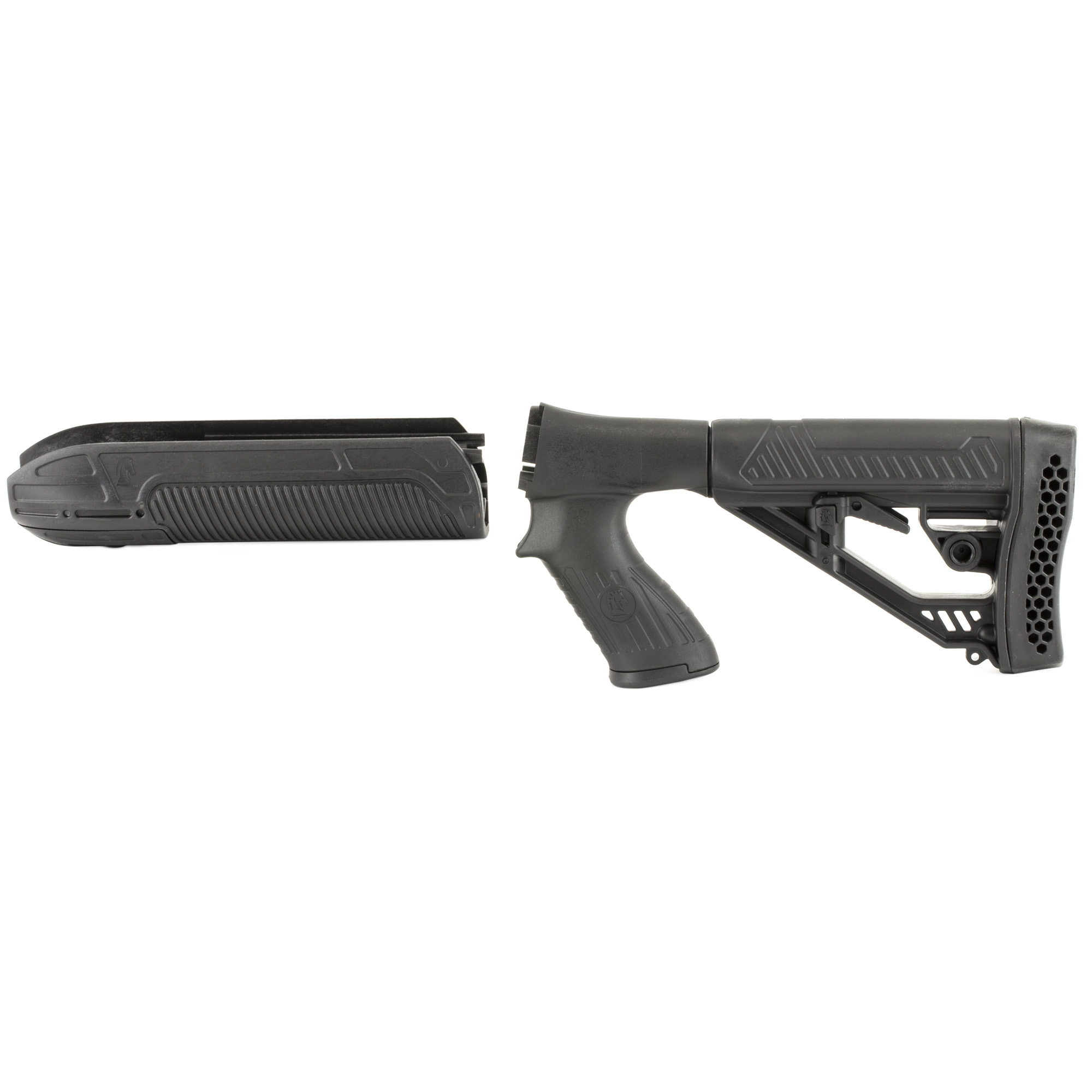 "The Adaptive Tactical Forend and M4-Style Stock for Remington Shotguns is optimized for pump shotguns. The advanced design features and high-impact"" polymer construction of the EX Performance Adjustable Stock and Forend make it an ideal choice when upgrading your Remington 870 12g pump shotgun. The EX Performance Forend features a 2 inch picatinny rail concealed under the nose cap. Uncovered it's ideal for attaching tactical accessories like lasers or lights.The EX Performance M4-style Stock with pistol grip features an easy-to-reach rapid adjust lever for custom length-of-pull"" and includes an integrated QD swivel attachment and molded in non-rust standard sling swivel attachment. Durable polymer construction with non-slip vented rubber recoil pad"" oversized extra strength adjustment pin"" and sleek industrial design."