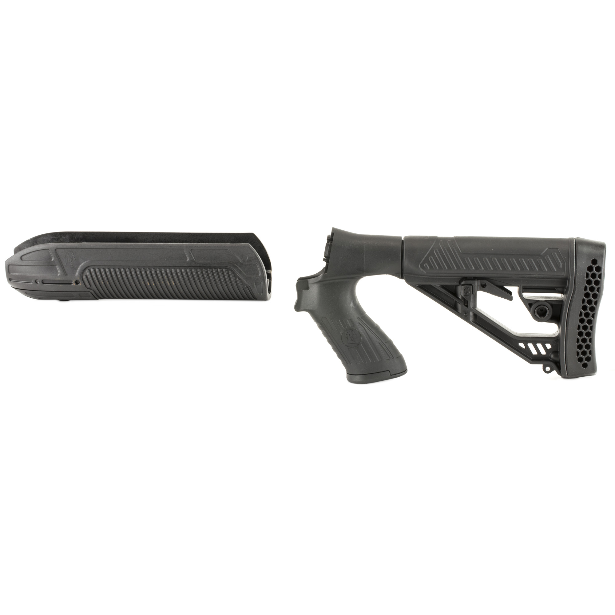 "The Adaptive Tactical Forend and M4-Style Stock for Mossberg Shotguns is optimized for pump shotguns. The advanced design features and high-impact"" polymer construction of the EX Performance Adjustable Stock and Forend make it an ideal choice when upgrading your Mossberg 500 & 88*"" 590 series 12g pump shotgun.The EX Performance Forend features a 2 inch picatinny rail concealed under the nose cap. Uncovered it's ideal for attaching tactical accessories like lasers or lights.The EX Performance M4-style Stock with pistol grip features an easy-to-reach rapid adjust lever for custom length-of-pull"" and includes an integrated QD swivel attachment and molded in non-rust standard sling swivel attachment. Durable polymer construction with non-slip vented rubber recoil pad"" oversized extra strength adjustment pin"" and sleek industrial design."
