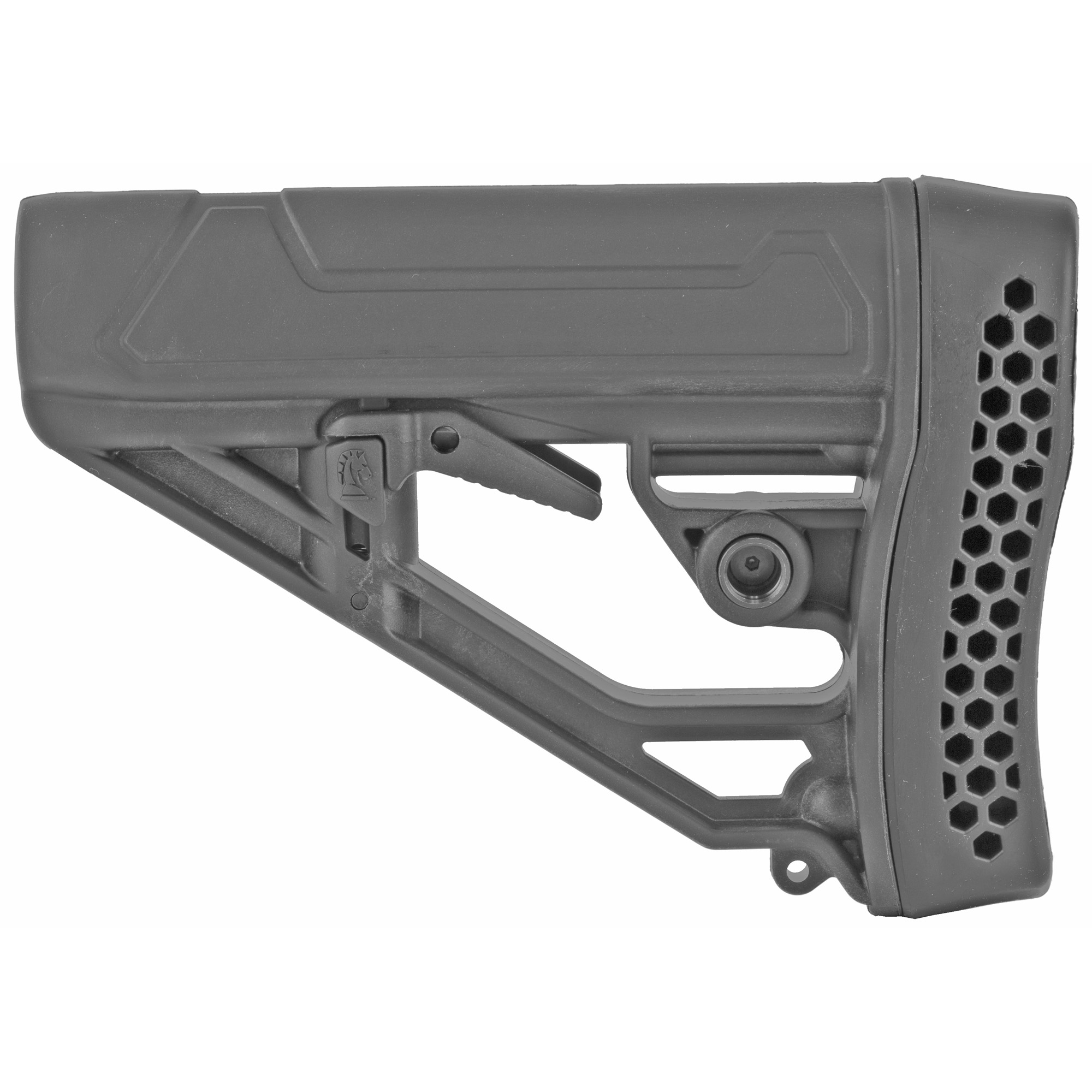 "The Adaptive Tactical EX Performance adjustable M-4 Style stock for AR15/AR10 Carbines with its advanced design and high-impact polymer construction make it the ideal upgrade for your AR15 or AR10. The EX Performance M4-style Stock features an easy-to-reach rapid adjust lever for custom length-of-pull"" and includes an integrated QD swivel attachment and molded in non-rust standard sling swivel attachment. Durable polymer construction with non-slip vented rubber recoil pad"" oversized extra strength adjustment pin"" and sleek industrial design."