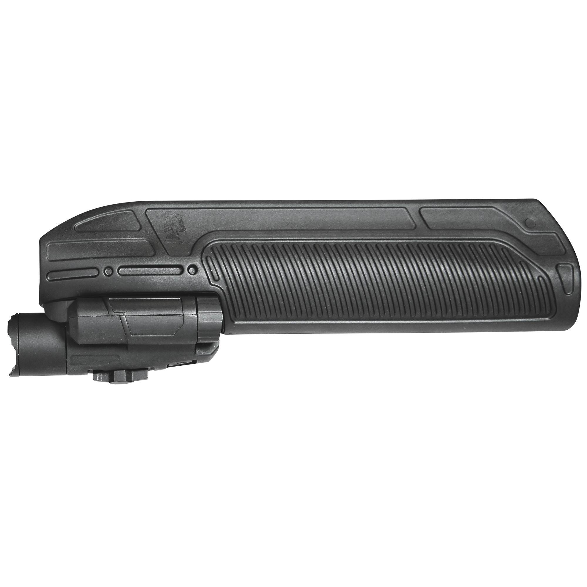 "The Adaptive Tactical EX Performance Tactical Light Forend for Mossberg 500 & 88*"" 590 series 12g pump shotguns is a compact and powerful 300-lumen tactical flashlight that seamlessly integrates into the forend body. Three levels of illumination are designed to offer wide"" smooth beams ideal for close-range"" shotgun applications. Removable light reveals a 2 inch picatinny rail for attaching other accessories"" or rail may be concealed under the included nose cap."