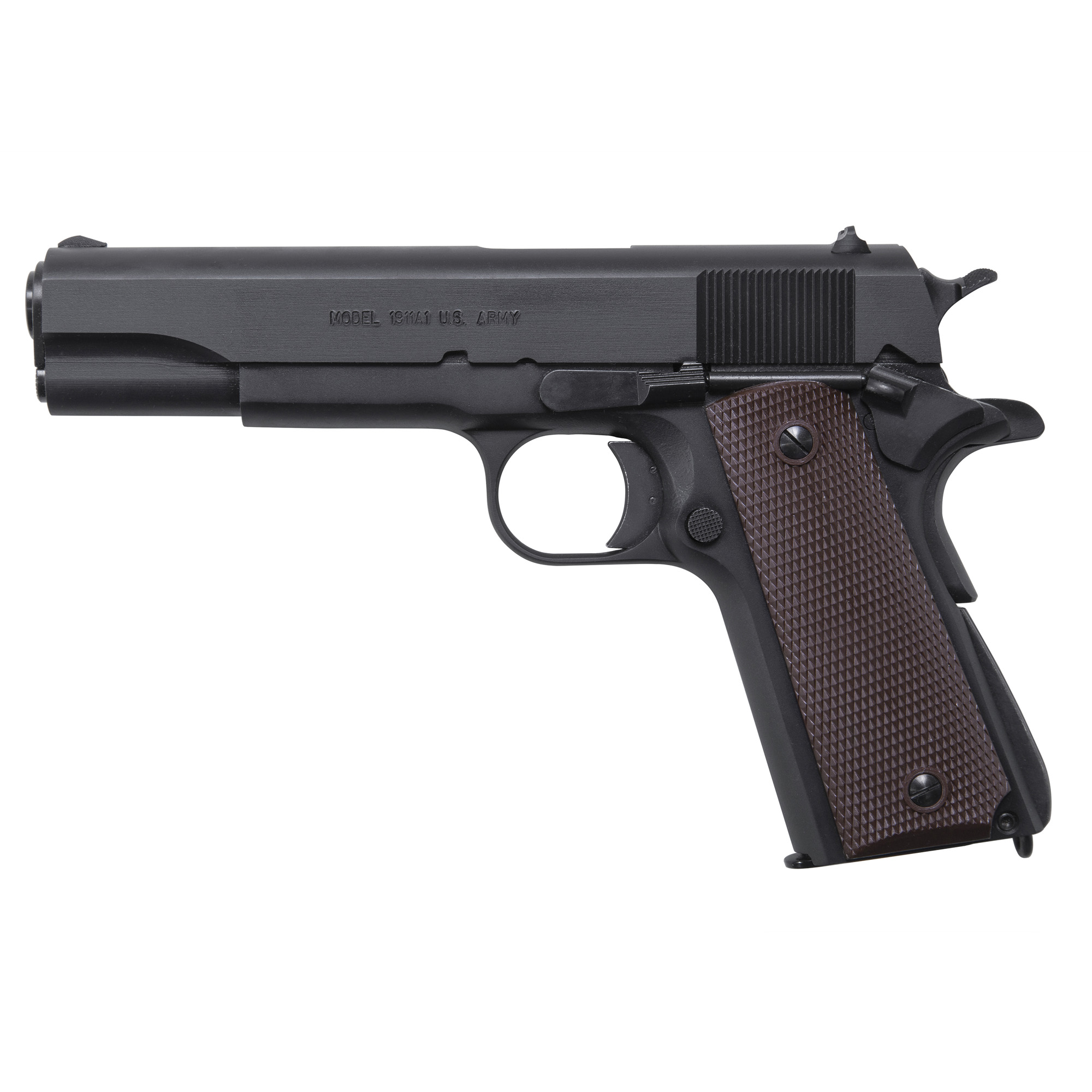 "The Auto-Ordnance 1911BKO frame incorporates GI specs"" and features a matte black finished frame"" barrel"" and slide. The carbon steel slide"" sear"" and disconnector are machined from solid bar stock"" then heat treated properly to assure durability and long life over many thousands of rounds."