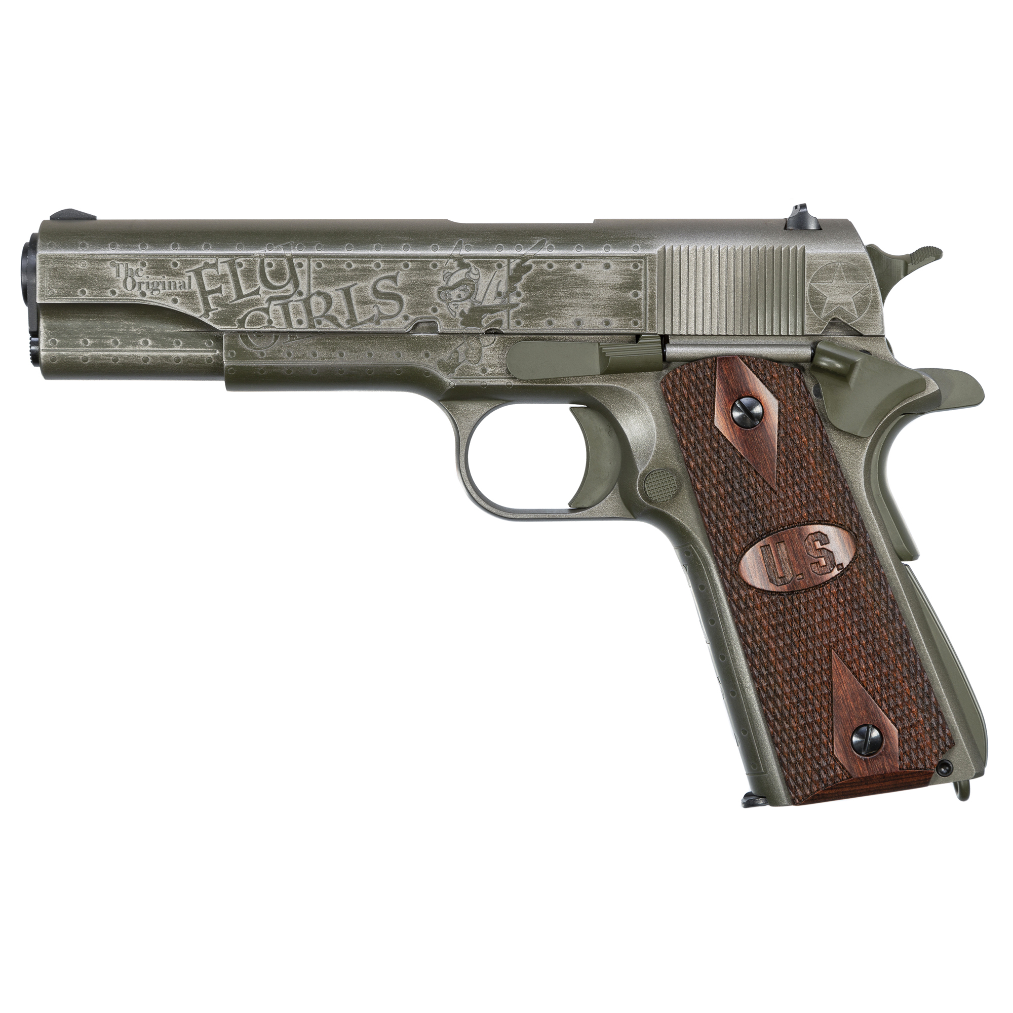 "This custom pistol honors the Women Air force Service Pilots (WASPs)"" who played a vital role in World War II. The right side features the diamond shaped badge of the Women's Air Corps. Engraved on the left side is the title ""Original Fly Girls"""" and the cartoon gremlin ""Fifinella""."