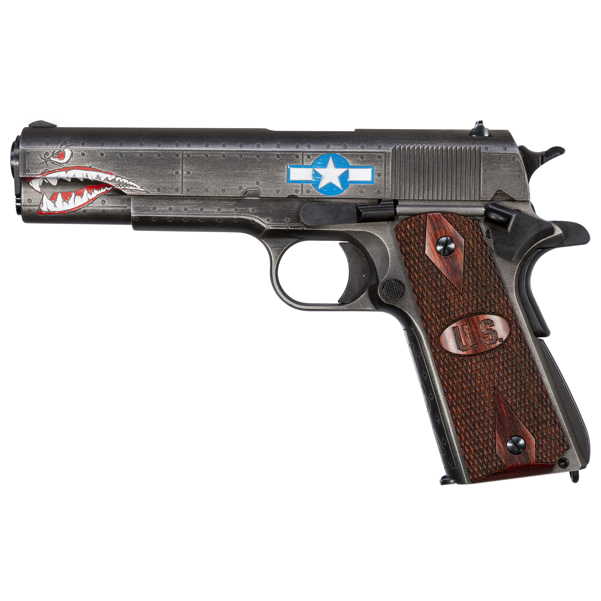 "The latest custom 1911 in Auto-Ordnance's WWII commemorative series is the ""Squadron"" model. This pistol features custom graphics reminiscent of those painted on fighter aircraft during the war."