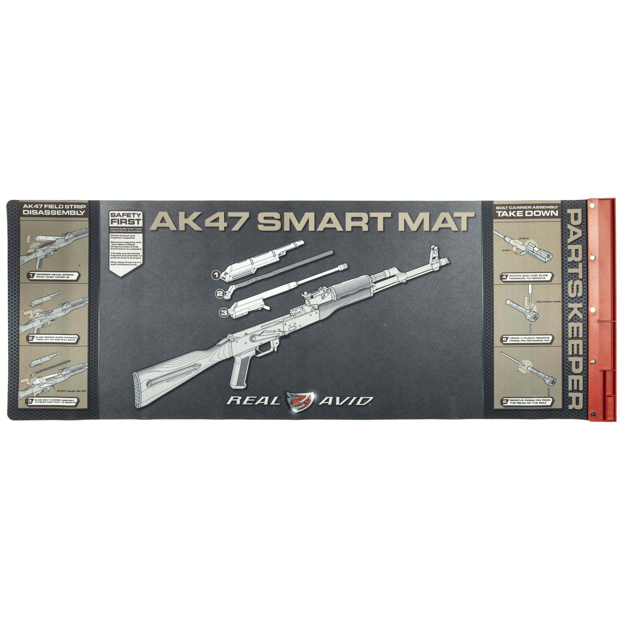 "Get a mat built by AK owners for AK owners. It's large enough to handle a field-stripped AK47 with the visible instructions to get you there. The attached parts tray ensures your pins"" bolts and springs are never lost again. The oil-resistant surface allows you to properly clean your gun without ruining the kitchen table."
