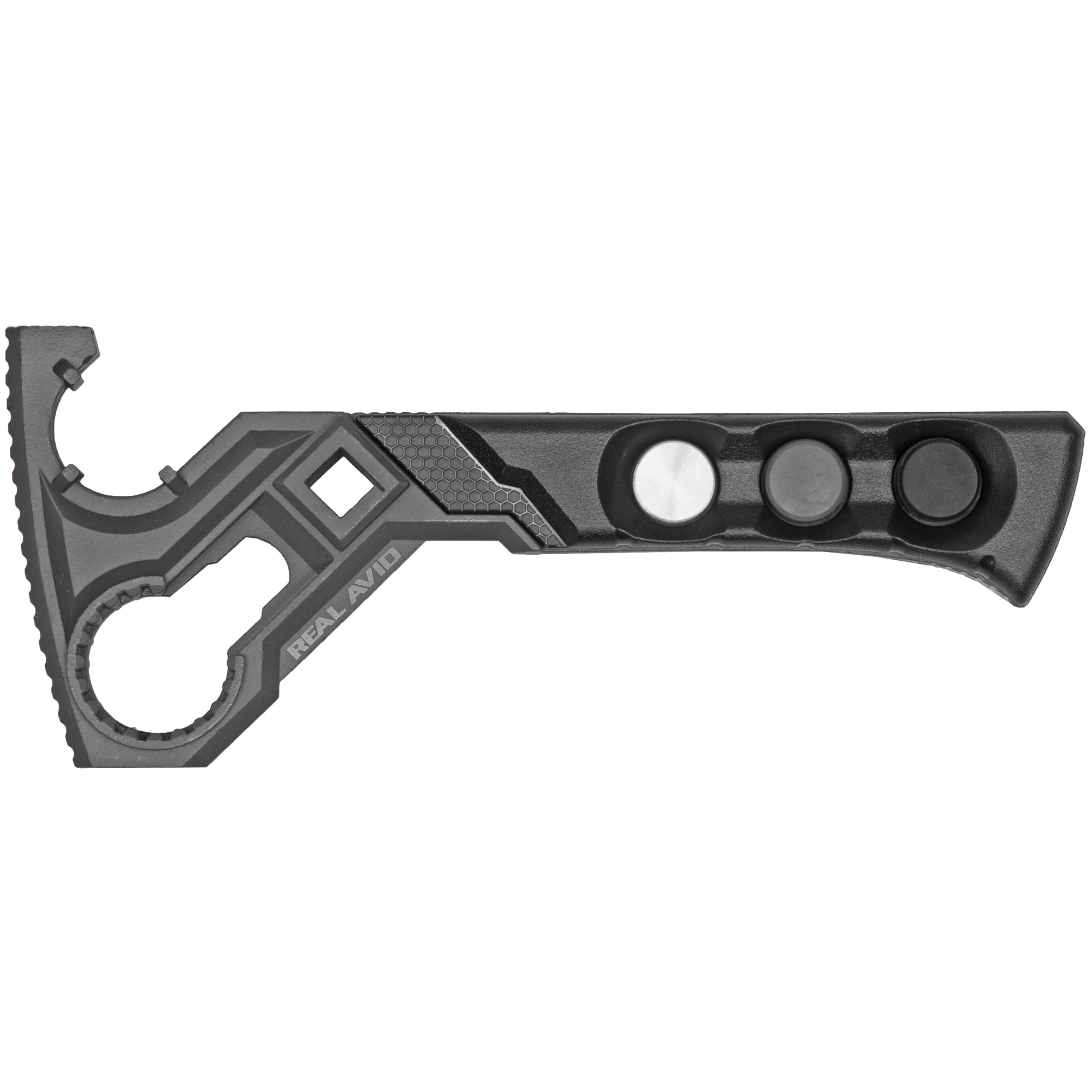 "When it comes to using the Armorer's Master Wrench(TM)"" think precision. The ergonomic handle gives you the ability to apply serious torque needed to remove stubborn"" crusted-on barrel or castle nuts without marring your firearm or stripping the nuts. The tool holds shape under pressure and has deep set sockets to grip your nuts and keep them gripped. The torque wrench attachment point allows you to apply accurate and critical torque adjustments to the barrel nuts"" castle nuts"" muzzle brakes"" flash suppressors"" and fixed stock receiver extensions. Plus"" this is the only tool in the category to include a fully-functional"" customizable armorer's hammer in the same tool."