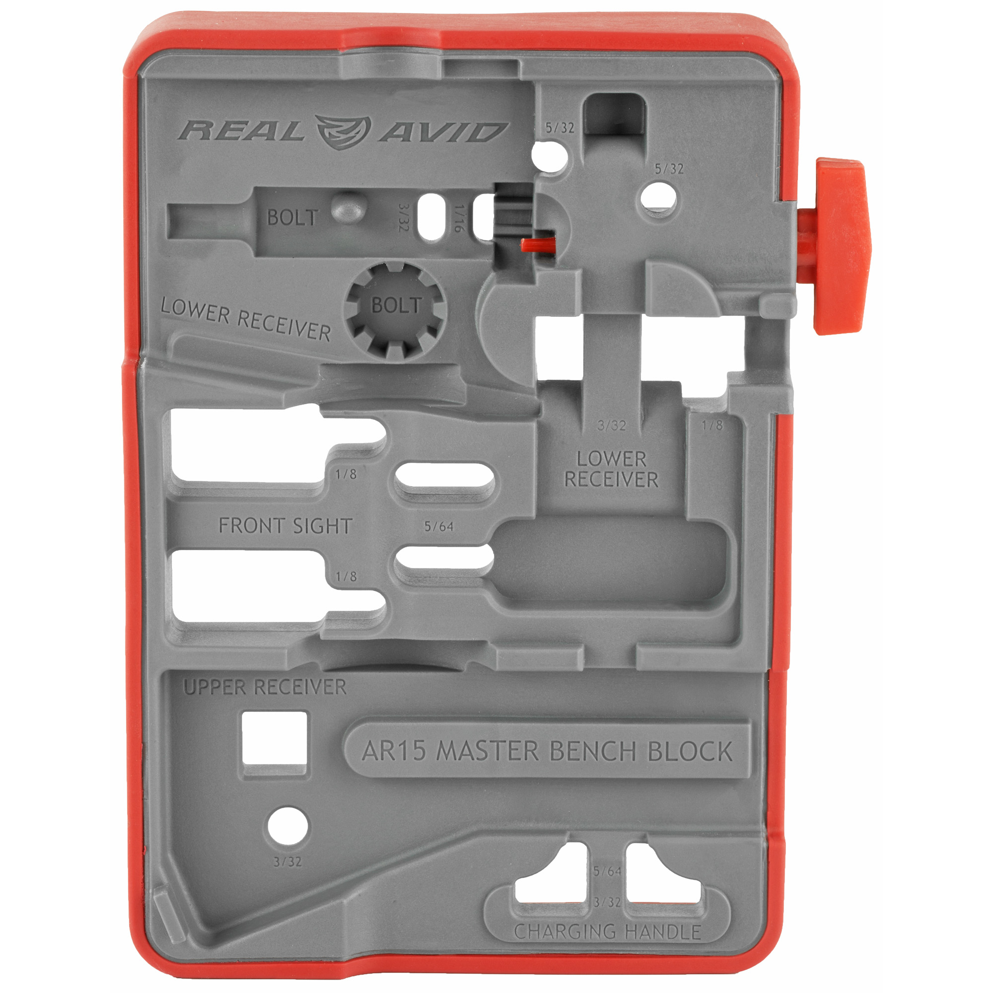 "The most comprehensive AR15 bench block ever allows you to tap 13 critical pins from 5 different components. The block is wrapped in an over-molding that grips to your bench to prevent slippage. Plus"" engraved on the ultra-tough engineering grade surface are clear component labels marked with pin punch sizes to make determining what component to place where and what pins to use"" simple. On the backside of the block"" to capture pins and keep them from rolling away"" are embedded magnets and"" to keep your pins from getting lost"" a pin storage section is included."
