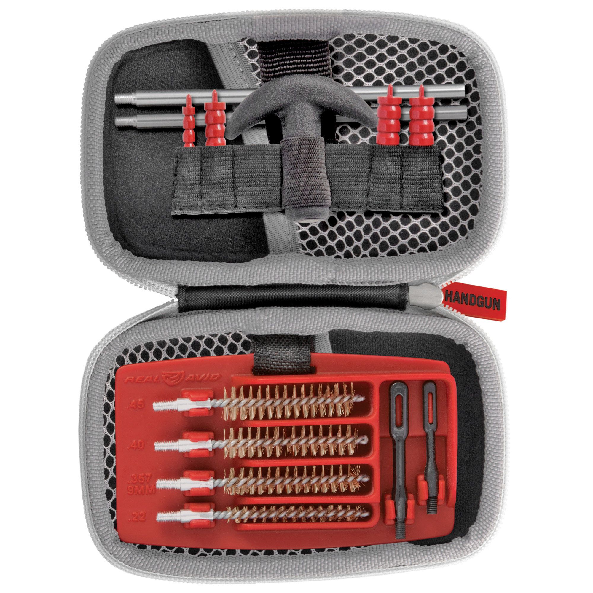 "The Gun Boss Handgun Cleaning Kit is a complete system to keep your gun clean and firing accurately. Aluminum connectors"" nylon jags"" slotted tips and phosphor bronze brushes protect bores. The Gun Boss Handgun Cleaning Kit is a complete cleaning system that moves easily between the field"" range and workbench."