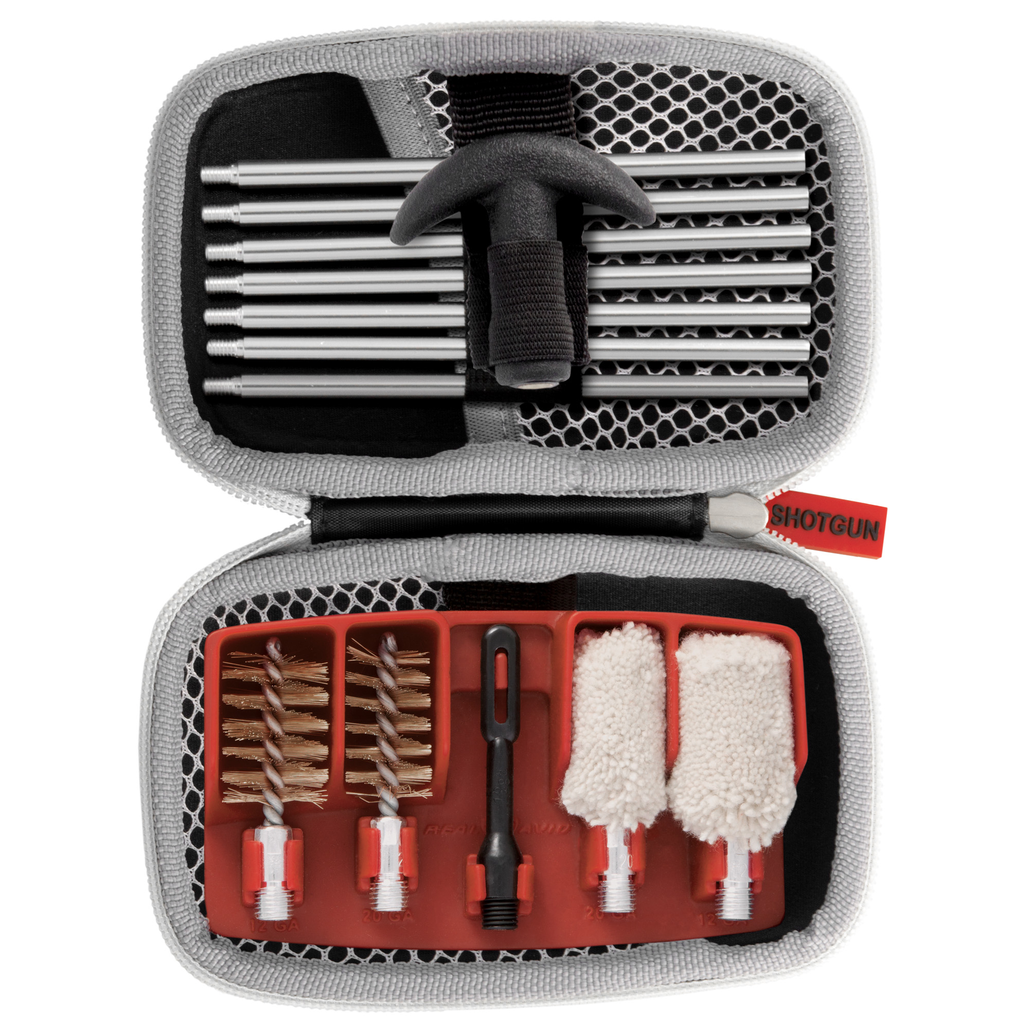 "The Gun Boss Shotgun Cleaning kit is a complete system to keep your gun clean and firing accurately. Aluminum connectors"" nylon slotted tip and phosphor bronze brushes protect bores. The Gun Boss Shotgun Cleaning kit is a complete cleaning system that easily travels with you. Fits 20 ga. & 12 ga. shotguns"