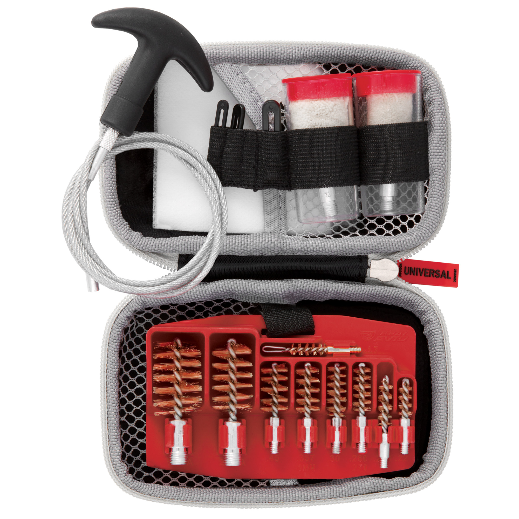 "The Gun Boss pull-through system cleans and protects firearms by pulling fouling out of the muzzle"" rather than back into the chamber and action. It comes in a compact"" weather-resistant"" molded case. Non-marring aluminum connectors and adapters"" phosphor bronze brushes"" and coated steel cables protect your bores. Every tool snaps securely into place on the high-quality"" oil-resistant tray. Fits .17 - .45 cal."" 20 ga. & 12 ga."
