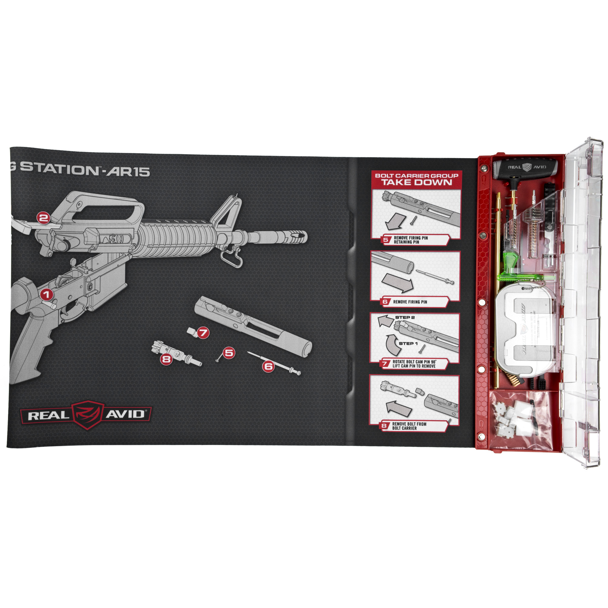 "Upgrade your cleaning experience with the world's first AR15 Master Cleaning Station. Designed for comprehensive cleaning of AR15s. It combines a Next-Gen cleaning mat with an intelligently designed cleaning kit filled with an extensive set of AR15 cleaning tools. It provides how-to cleaning and maintenance instruction and keeps easy-to-lose gun parts organized while you work. Provides a huge work area for a completely disassembled gun"" yet rolls up for compact storage in the included bag."