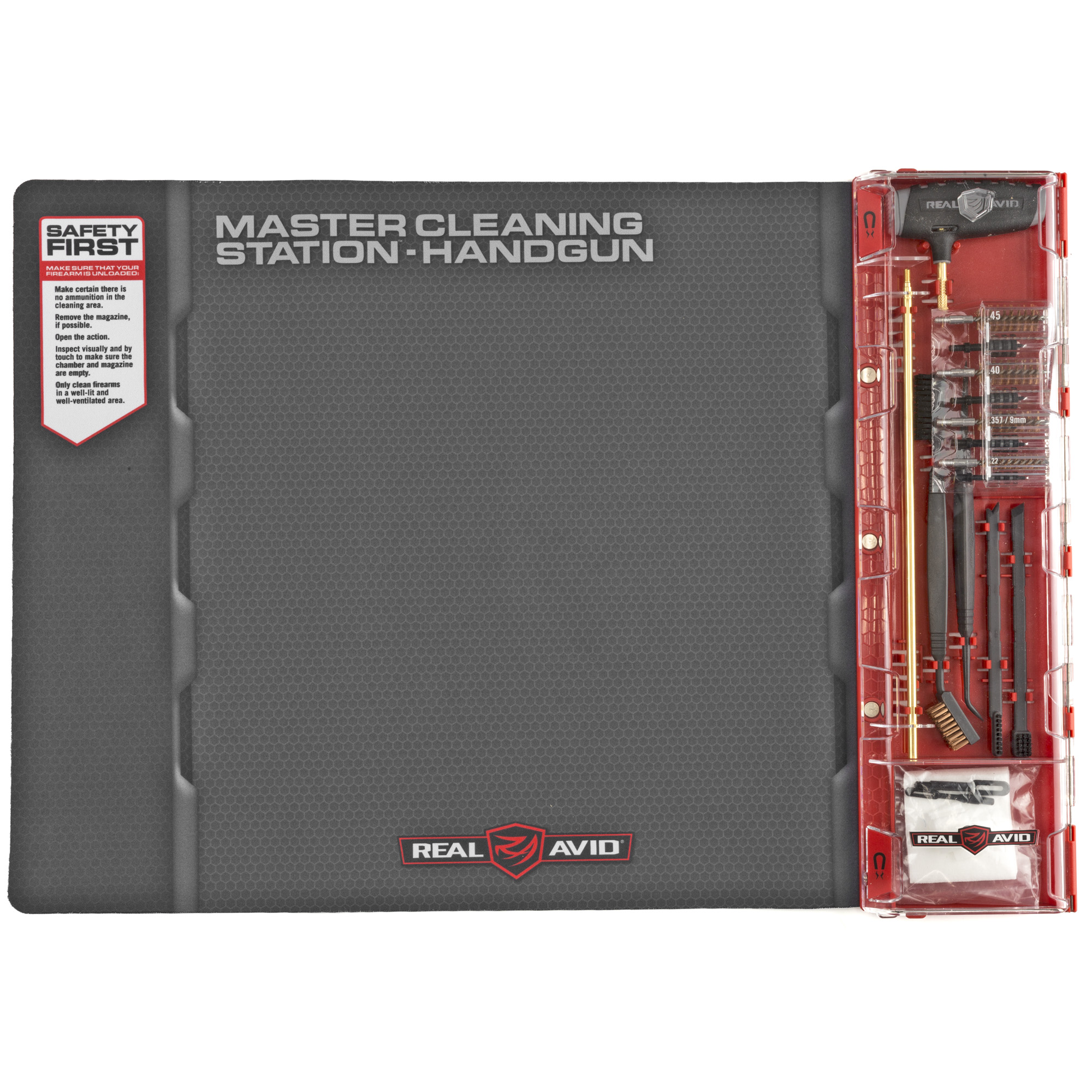 "Upgrade your cleaning experience with the world's first handgun Master Cleaning Station. Designed for comprehensive cleaning of .22 / 9mm / .357 / .38 / .40 / .45 caliber handguns. It combines a Next-Gen cleaning mat with an intelligently designed cleaning kit filled with an extensive set of handgun specific cleaning tools. It keeps easy-to-lose gun parts organized while you work. It provides a huge work area for a completely disassembled gun"" yet rolls up for compact storage in the included bag."