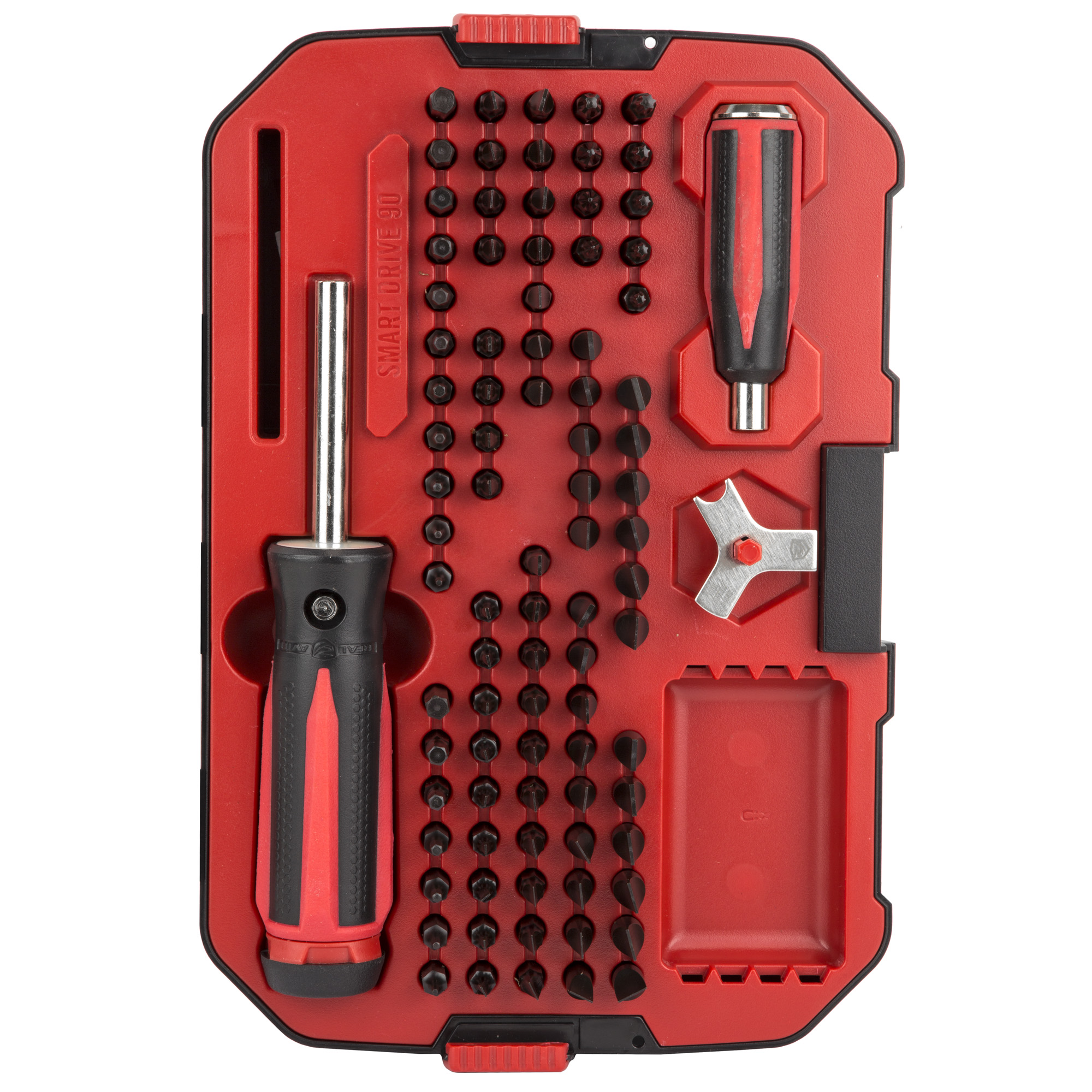 "Smart Drive 90 is an advanced gunsmithing driver set. The main driver features a magnetic bit holder"" rubber grip"" jeweler's spin top & 360 degree LED light. It partners with the small ""close quarters"" driver to create Force Assist. Force Assist is a proprietary system that helps users to loosen frozen-in-place screws as well as precisely tighten screws."