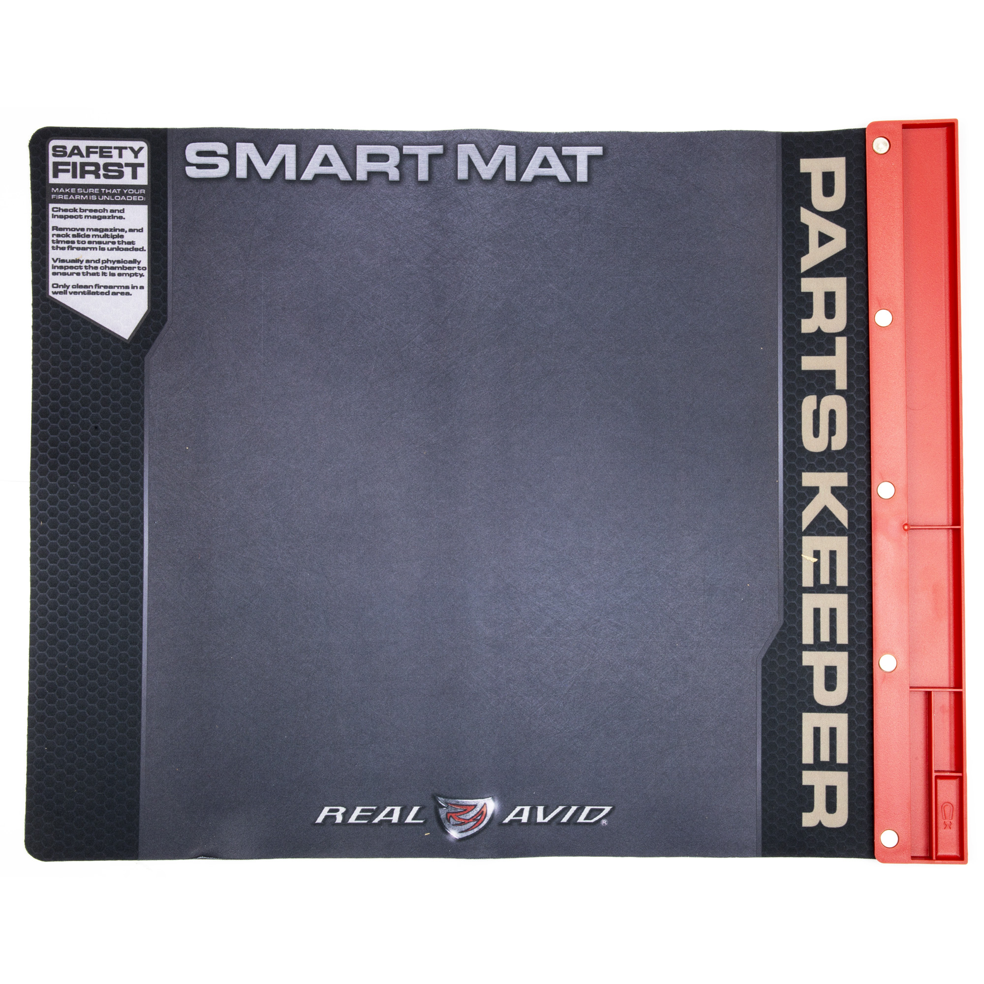 "Get rid of your felt pad and greasy beach towels and treat your handguns with the respect they deserve. The Handgun Smart Mat was designed to be the ultimate cleaning mat for all your handguns. This 19"" x 16"" padded mat is large enough to handle your disassembled guns and includes an attached parts tray to hold your pins"" barrel"" and springs so they are always safely within reach. The oil-resistant surface allows you to clean your gun without ruining the kitchen table."