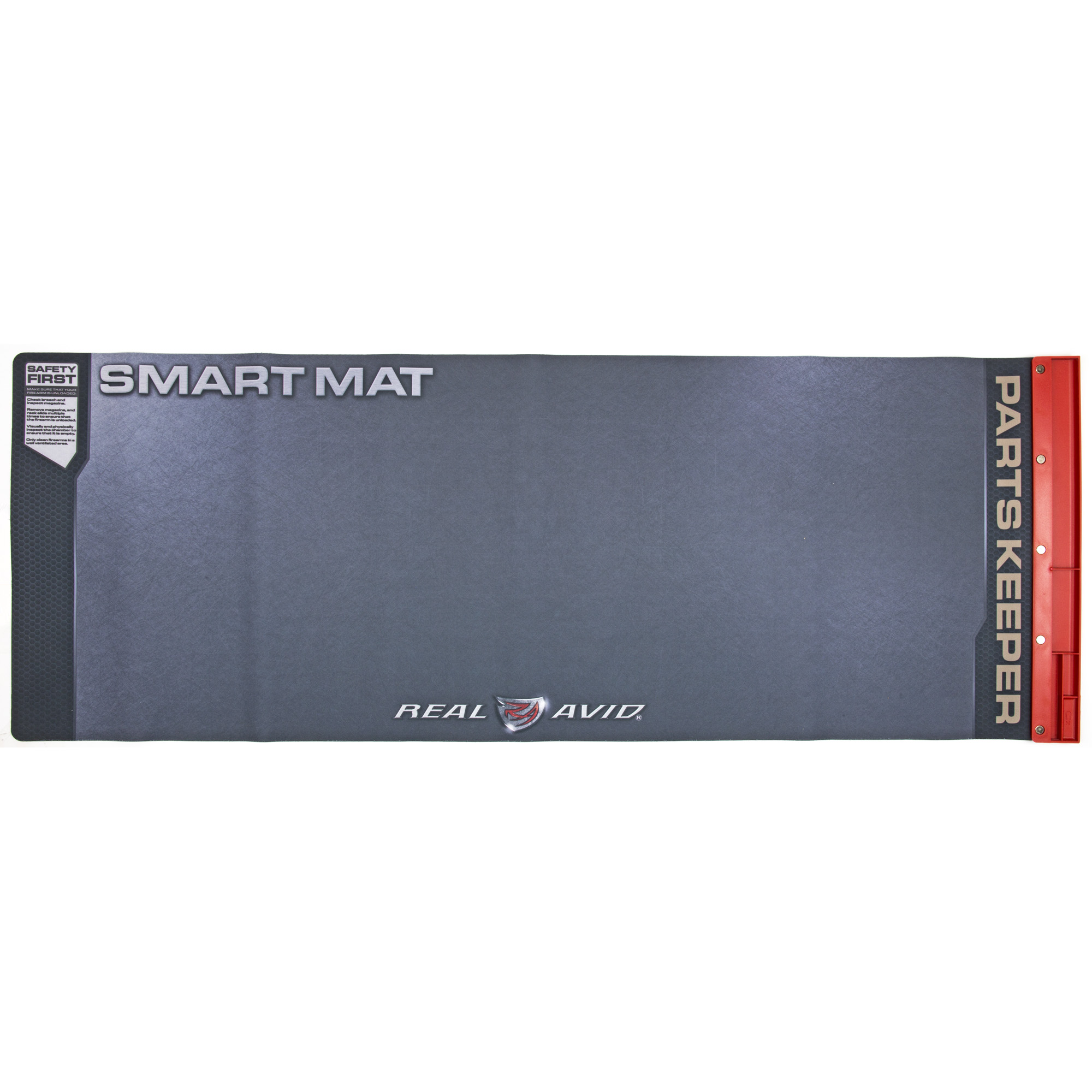 "Get rid of your felt pad and greasy beach towels and treat your firearms with the respect they deserve. The Universal Smart Mat was designed to be the ultimate cleaning mat for all your guns. This 43"" x 16"" padded mat is large enough to handle your disassembled guns and includes an attached parts tray to hold your pins"" screws"" and springs so they are always safely within reach. The oil-resistant surface allows you to clean your gun without ruining the kitchen table."