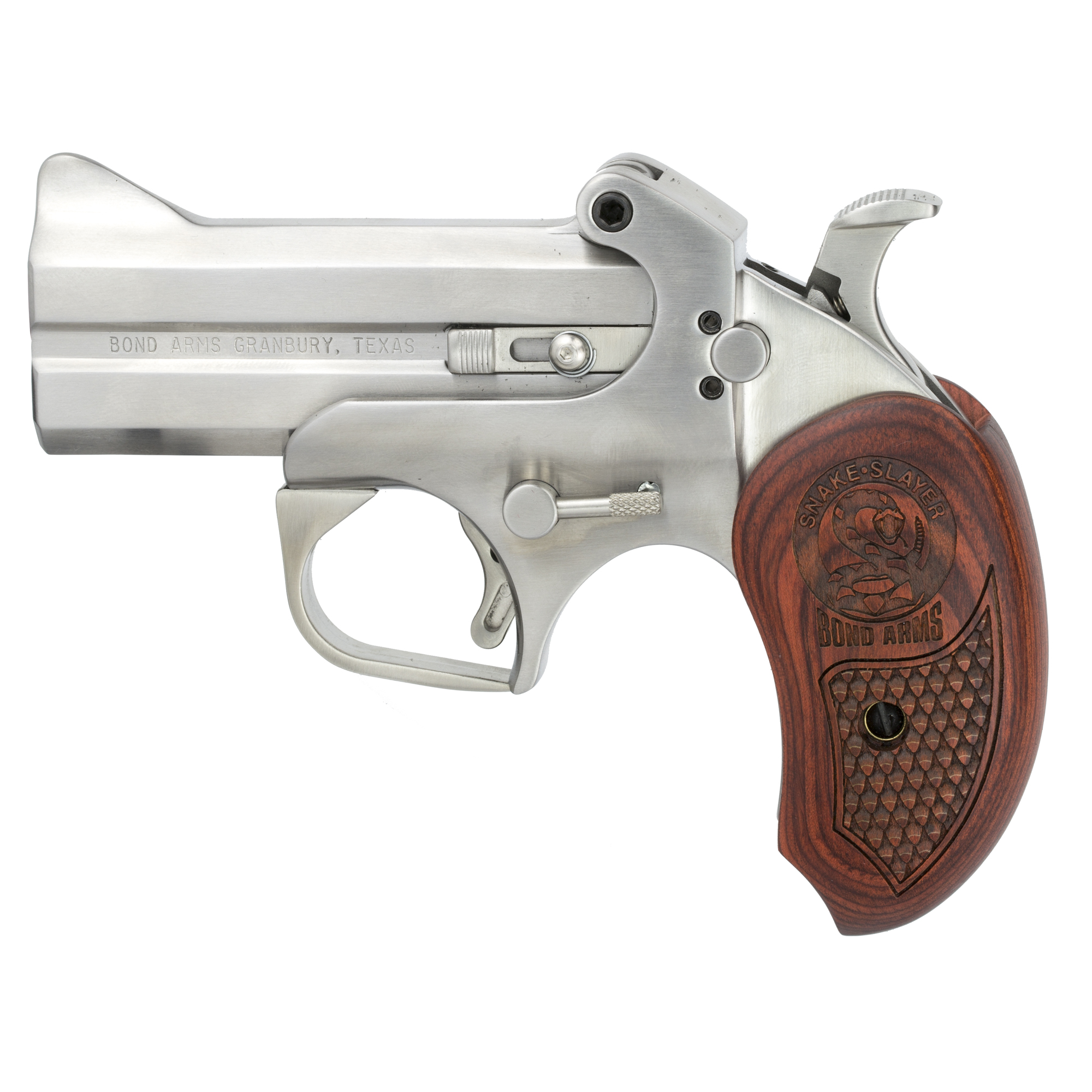 """Bond Arms Derringers come standard with a rebounding and locking hammer"""" which is a first for derringers. The hammer automatically jumps back and locks into a half-cocked position for safety. A Simple Barrel-locking mechanism that is spring loaded allows easy opening and closing of the barrels for quick reloading and cleaning."""