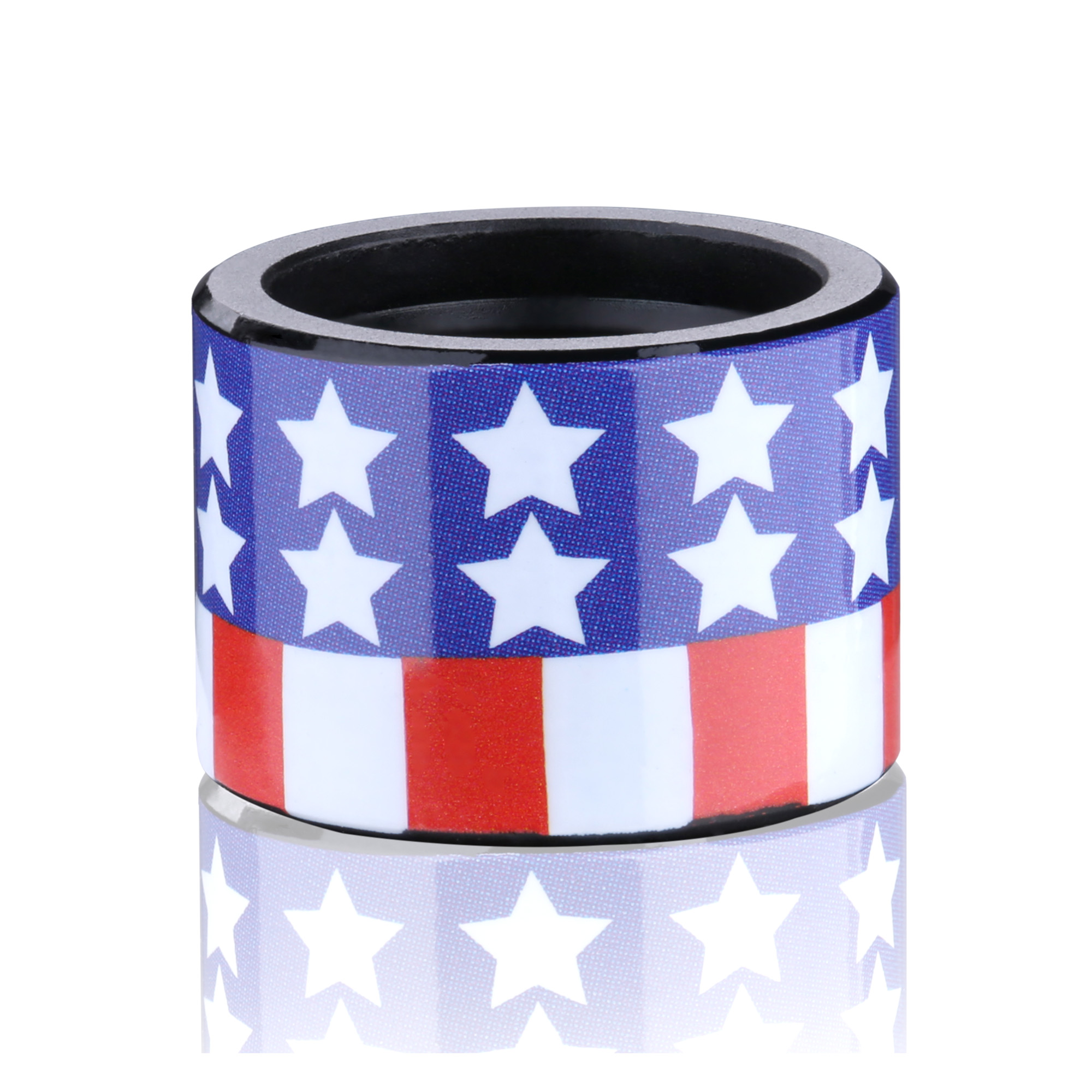 Custom thread protector with flag pattern on it.