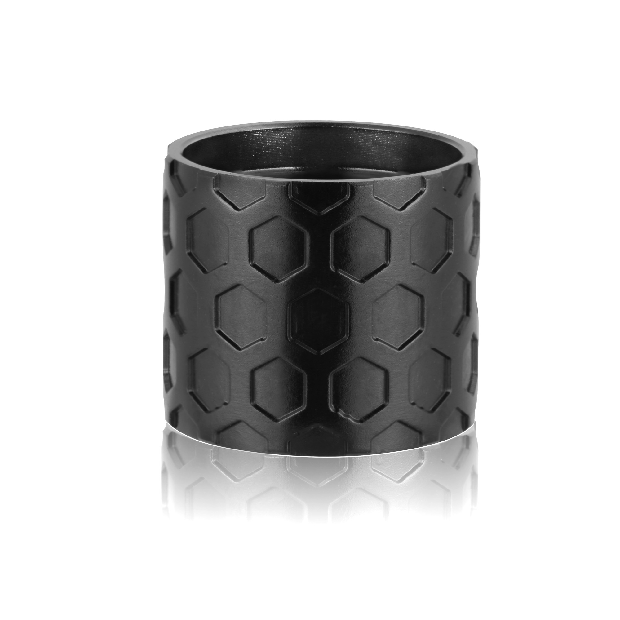 Custom thread protector with honeycomb pattern on it.