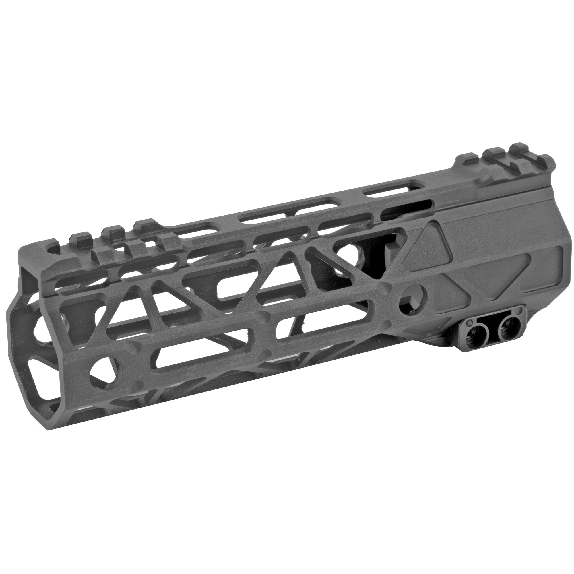 "The Battle Arms Development's Rigidrail 6.7"" M-Lok Handguard is designed to balance between light weight and strength/rigidity. The overall length is 6.7"" and the inner diameter is 1.315"". M-LOK Slots at 3"" 6"" 9"" and partial 12 o'clock positions"" and additional single M-Lock slots at four"" 45 degree positions"" for forward mounting light"" laser"" etc. It is compatible with AR-15 upper receivers and most low profile gas blocks."