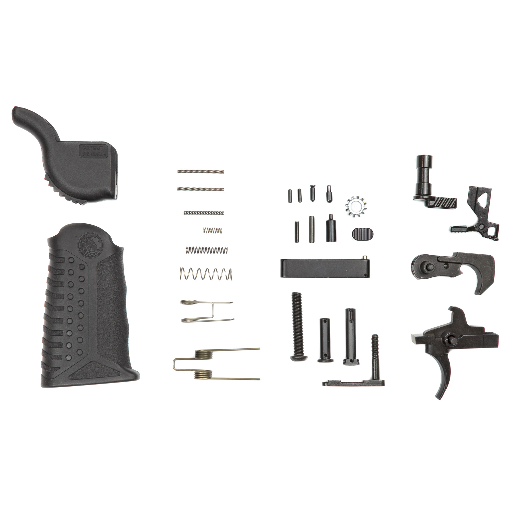 "The BAD-LPK-PKX Enhanced Complete Lower Parts Kit includes: Enhanced Bolt Catch"" Enhanced Single Sided Safety Selector"" Enhanced Magazine Catch"" Enhanced Magazine Release"" Adjustable Tactical Grip"" and the required pins"" springs and detents."