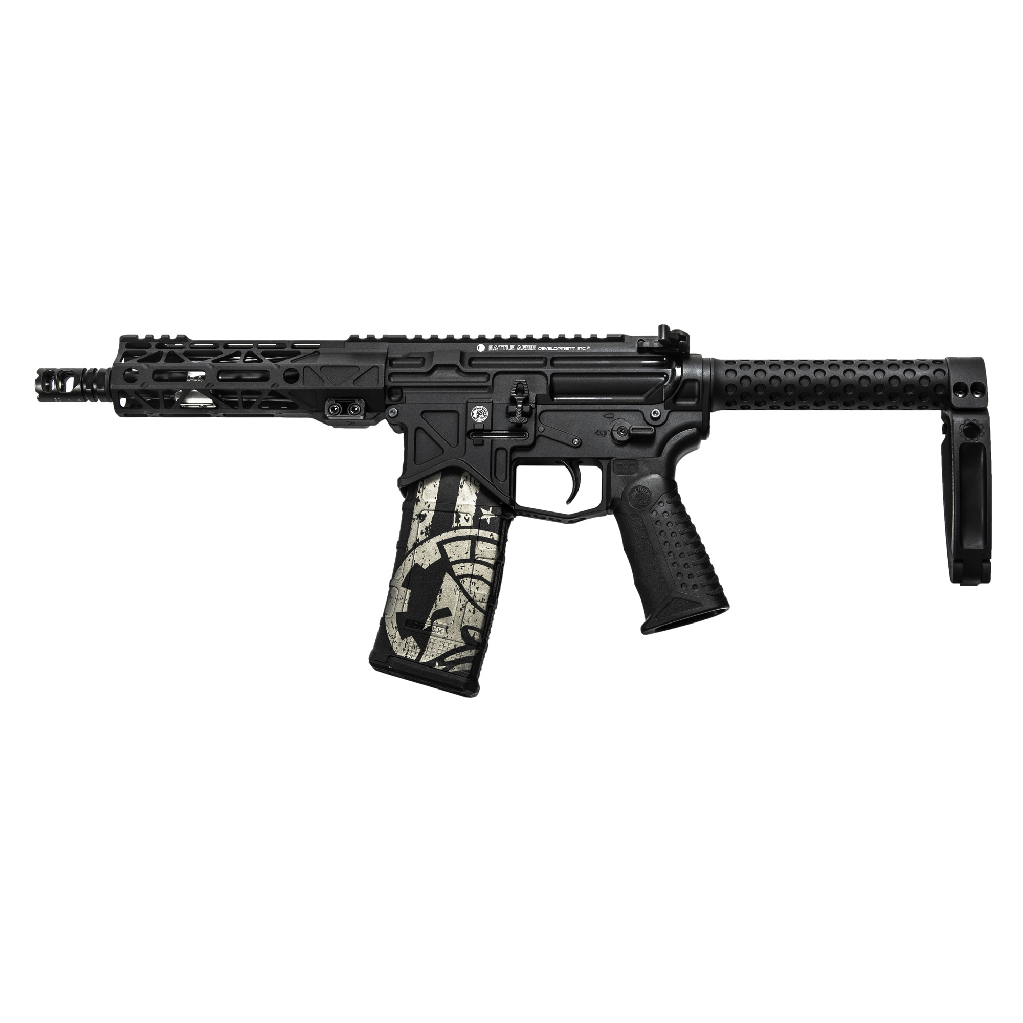 "The 300 Blackout BAD556-LW Pistol features a lightweight upper and lower receiver"" titanium gas block"" enhanced magazine release"" Tail Hook pistol brace"" enhanced mag and bolt catch"" ambi charging handle and angular cut BCG."