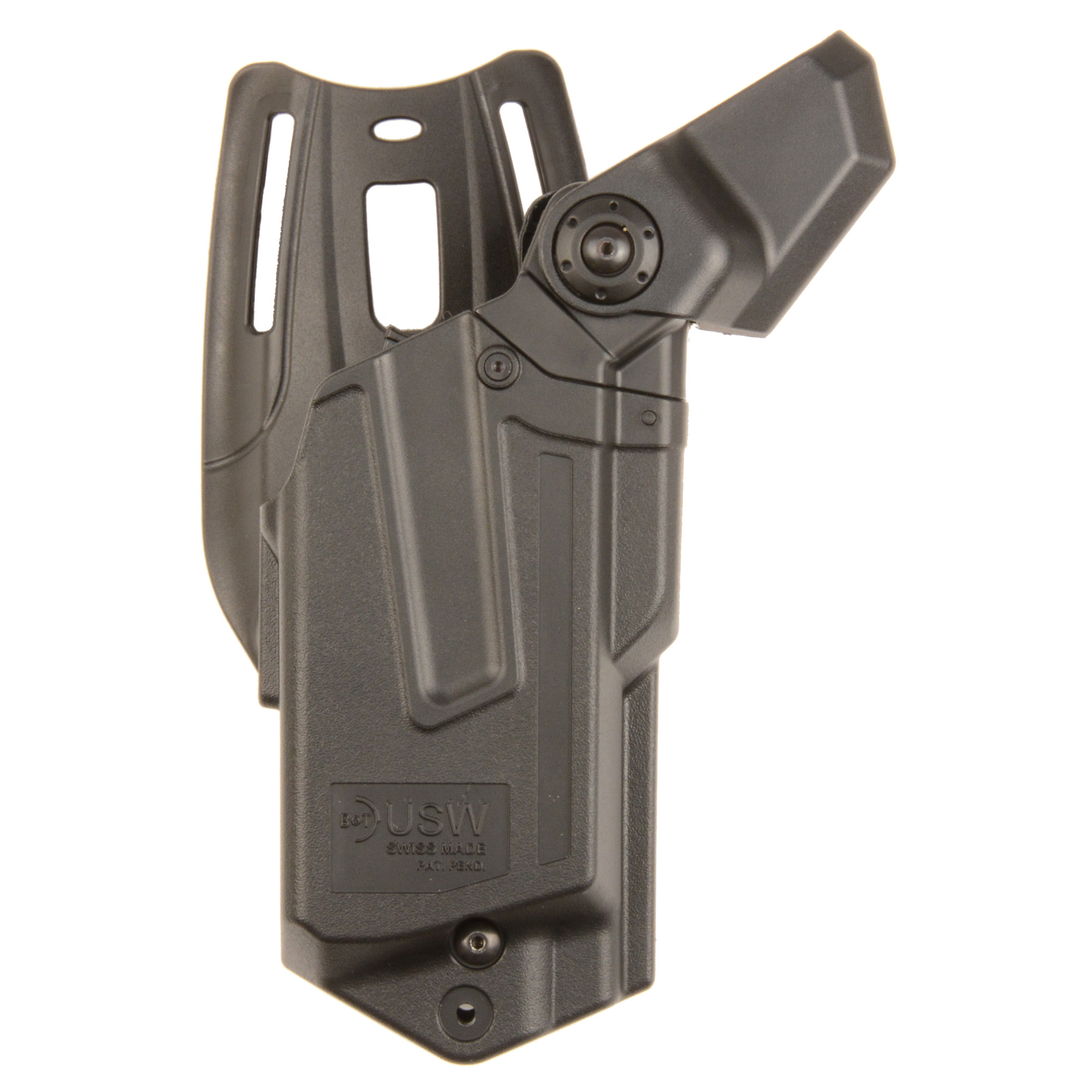 """The perfect holster for those who carry a duty gun. Thanks to its sophisticated safety mechanisms"""" the USW is protected from unauthorized access"""" while the legitimated user can draw the gun immediately. The holster rides below the belt in order to guarantee an ergonomic and fast draw."""