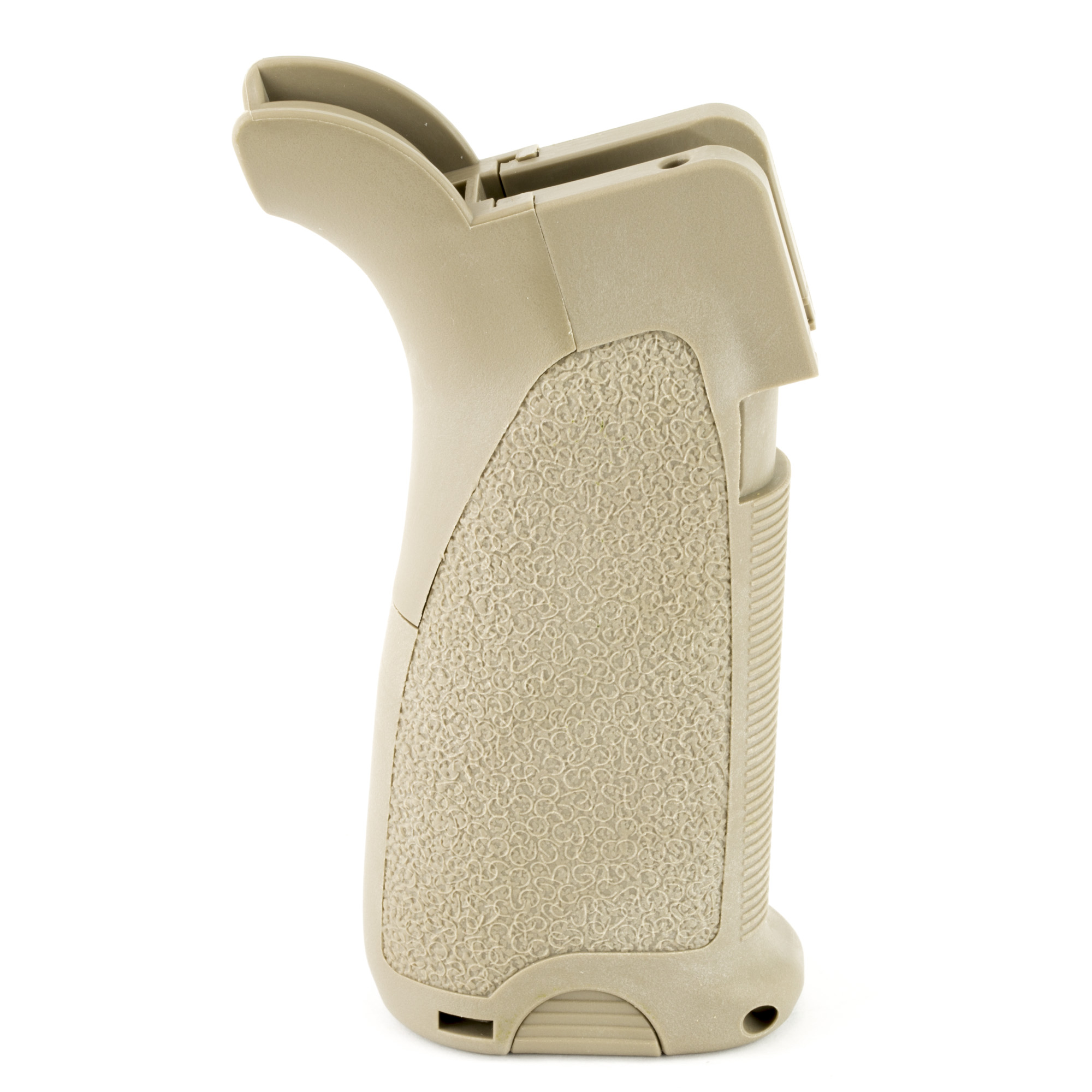 Bravo Company's BCM Gun Fighter's Grip Mod 2 (Modular) grip allows for a reduced angle and improved ergonomics when shooting in the modern gun fighting stances. The Mod 2 is up to a quarter of an inch wider than the BCMGUNFIGHTER Mod 0 and Mod 1 grips. This is a new AR grip refined for the modern warfighter and optimized for modern weapon manipulation techniques. The reduced grip angle keeps the wrist in line with the trigger for improved ergonomics and trigger control. It has interchangeable backstraps and inserts and has a hinged trap door with an interior storage compartment and water resistant rubber gasket. Made in the U.S.A. and manufactured from high quality impact resistant polymers.