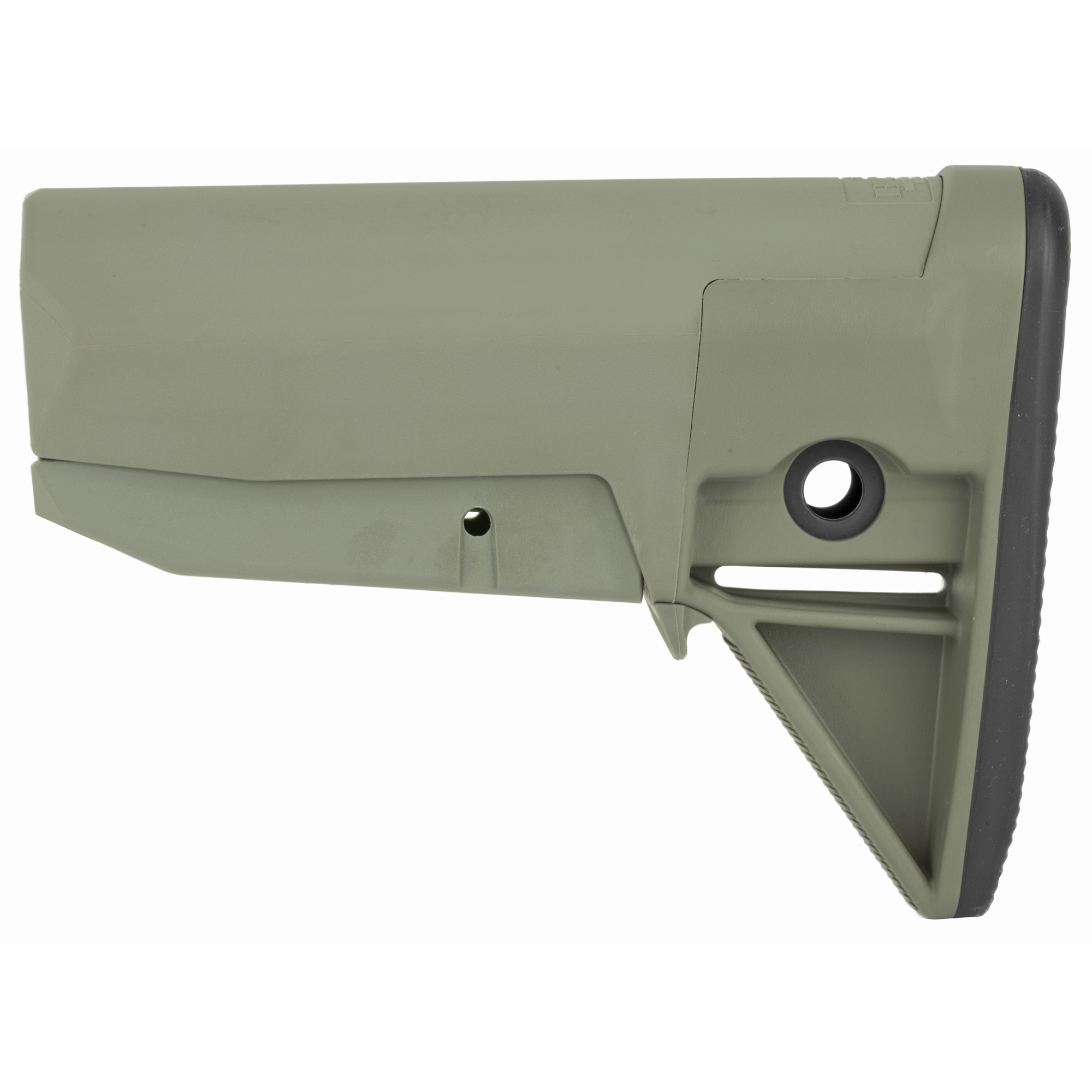 """Bravo Company's BCMGUNFIGHTER Stock Mod 0 is the strongest light-weight polymer stock available for your mil-spec receiver extension. With no sharp edges this snag free design prevents the tangling of the rifle with the shooter's sling"""" molle gear or other kit.The modular VBOST (Vehicle Borne Operations Sling Tab) interfaces with the shooter's riggers' band or bungee to secure the shooter's sling against the stock when the carbine is not in use. Increasingly"""" this is the most common application when operating inside a vehicle. It has 2 different types of ambidextrous sling mounting options"""" including QD swivel sockets and an integrated color matched rubber butt pad for secure shoulder placement"""" along with increased durability. With its simple modular design and 5 parts"""" and 1 screw its allows for modular adaption of future stock options and configurations."""