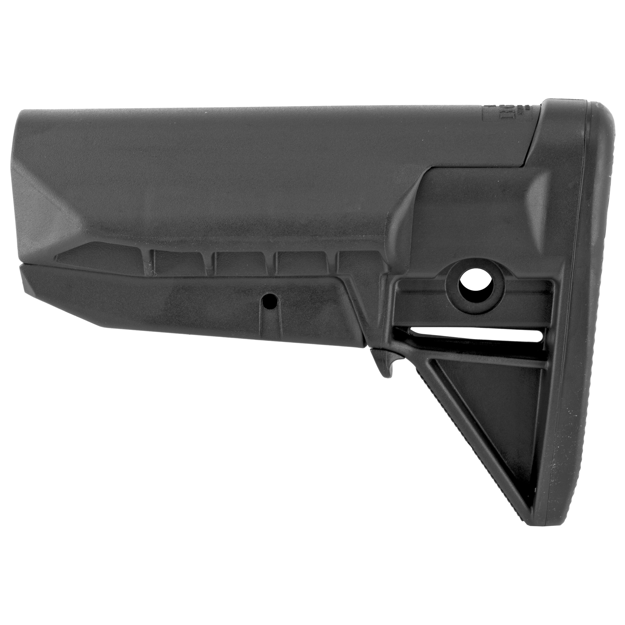 """Bravo Company's BCMGUNFIGHTER Stock Assembly Mod 0 SOPMOD is the strongest light-weight polymer stock available for your mil-spec receiver extension. With no sharp edges this snag free design prevents the tangling of the rifle with the shooter's sling"""" molle gear or other kit. It has a more pronounced cheek weld-SOPMOD type.The modular VBOST (Vehicle Borne Operations Sling Tab) interfaces with the shooter's riggers' band or bungee to secure the shooter's sling against the stock when the carbine is not in use. Increasingly"""" this is the most common application when operating inside a vehicle. It has 2 different types of ambidextrous sling mounting options"""" including QD swivel sockets and an integrated color matched rubber butt pad for secure shoulder placement"""" along with increased durability. With its simple modular design"""" 6 parts and 1 screw it allows for modular adaption of future stock options and configurations."""