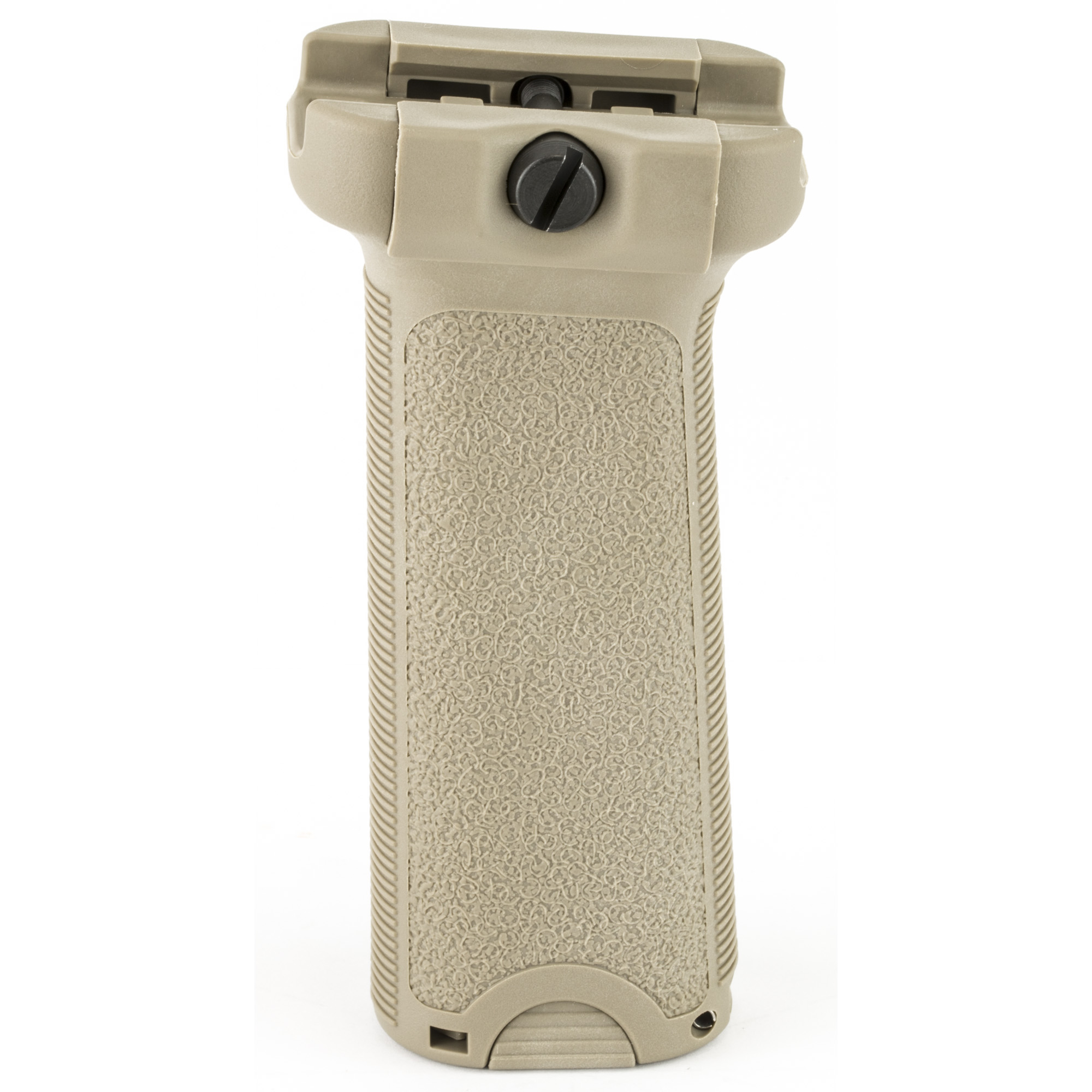 """Bravo Company's BCMGUNFIGHTER Vertical Forend Grip fits AR rifles. When mounted in a forward angle it increases rigidity of forearm"""" while providing a more natural wrist angle when grabbing the vertical grip. When mounted in a reverse angle it increases your control when grabbing handguard and vertical grip. The flat sides give better yaw control to the shooter during firing and non-firing manipulations. The aggressive texture and generous storage volume"""" combined with its modular design"""" allow for improvements and adaptation in the future. It is cross bolt designed to work with improvised tools (such as a quarter) to allow for easy adjustment or re-tightening. The reversible clamps allow user to setup fasteners to reside on either side and the spring- loaded clamp makes installation and removal easier."""