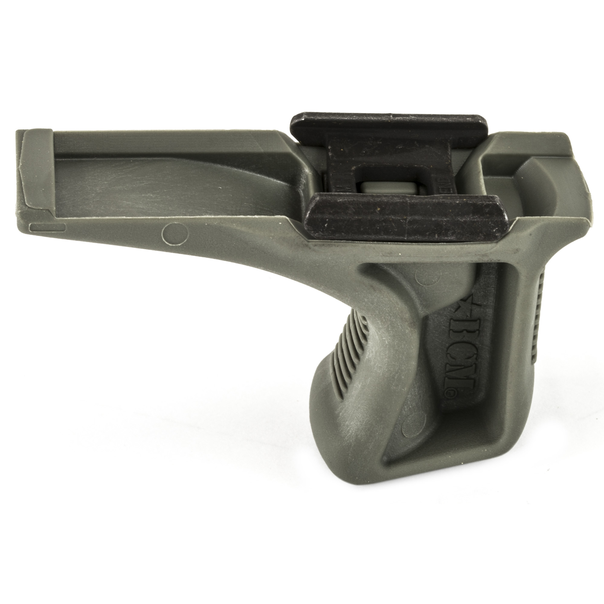 """Bravo Company's BCMGUNFIGHTER KAG-1913 Kinesthetic Angled Grip"""" Picatinny 1913 Rail Version"""" is the end result of collaboration between BCM(R) and Travis Haley"""" founder of Haley Strategic Partners and inventor of multiple weapons manipulation enhancements in the firearms industry.Designed to complement modern shooting grips"""" the Kinesthetic Angled Grip (KAG) uses a biomechanically efficient forward rake to create an interface for positive retention and joint relief to the wrist"""" elbow"""" and shoulder"""" allowing for smooth weapon manipulation without substantial increase to the girth of the weapon system. Textured on both front and back"""" the profile of the KAG creates a channel for consistent and positive engagement which translates directly into improved efficiency in weapons manipulation and target to target transitions. The new Patent Pending BCM(R) Direct Mount Picatinny 1913 interface system"""" was developed to be the most rigid"""" light-weight"""" and cost effective system available for Vertical Pistol Grips and Hand Stop type accessories. BCM(R) has developed a patent pending anchor system that not only secures to the mounting surface"""" but spreads the energy and force throughout the accessory. Conventional mounting systems can allow for an increased amount of shifting and flexing of the accessory. The BCM(R) direct mount interface system reduces those issues and offers a more secure lockup"""" eliminating play in the mounting surface."""