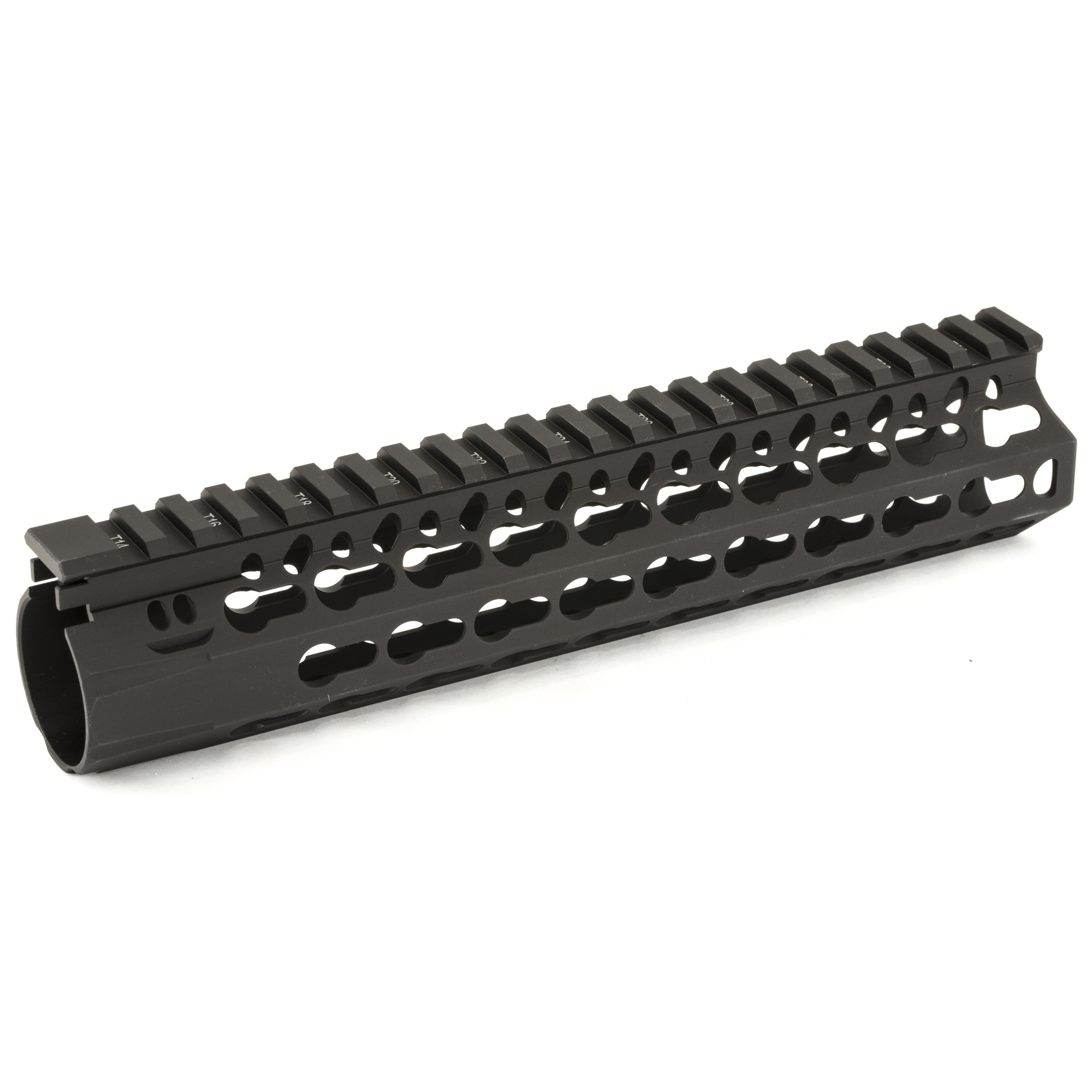 """Bravo Company's BCM KMR ALPHA 9"""""""" KeyMod Free Float Handguard"""" is manufactured from aluminum"""" it is lightweight yet durable. Also featuring a proprietary patent pending mounting"""" indexing and lock up system that mitigates 12:00 rail movement under heat generated from the barrel nut. It has a 1.3"""" inner diameter and is 1.5"""" outside flat to flat. The handguard flares forward (towards muzzle end) at the 3 and 9 O'clock positions approximately 1/4"""". The actual length when measured to flare is 9.4"""". The KeyMod(TM) interface system was developed by Eric Kincel (now the Director of BCMs' product development team) to work in parallel with the current picatinny system. In many applications it will advance modularity past the current 1913 rail system. In the most basic of applications the KeyMod(TM) system allows for universal modularity between various manufacturers of accessories"""" and accessory rails. A big win for the trigger puller. As the industry advances the modular accessories will mount directly to the KeyMod(TM) instead of picatinny"""" allowing for a lighter"""" cleaner"""" and less bulky weapon system. Includes BCM(R) KeyMod(TM) Sling Mount."""