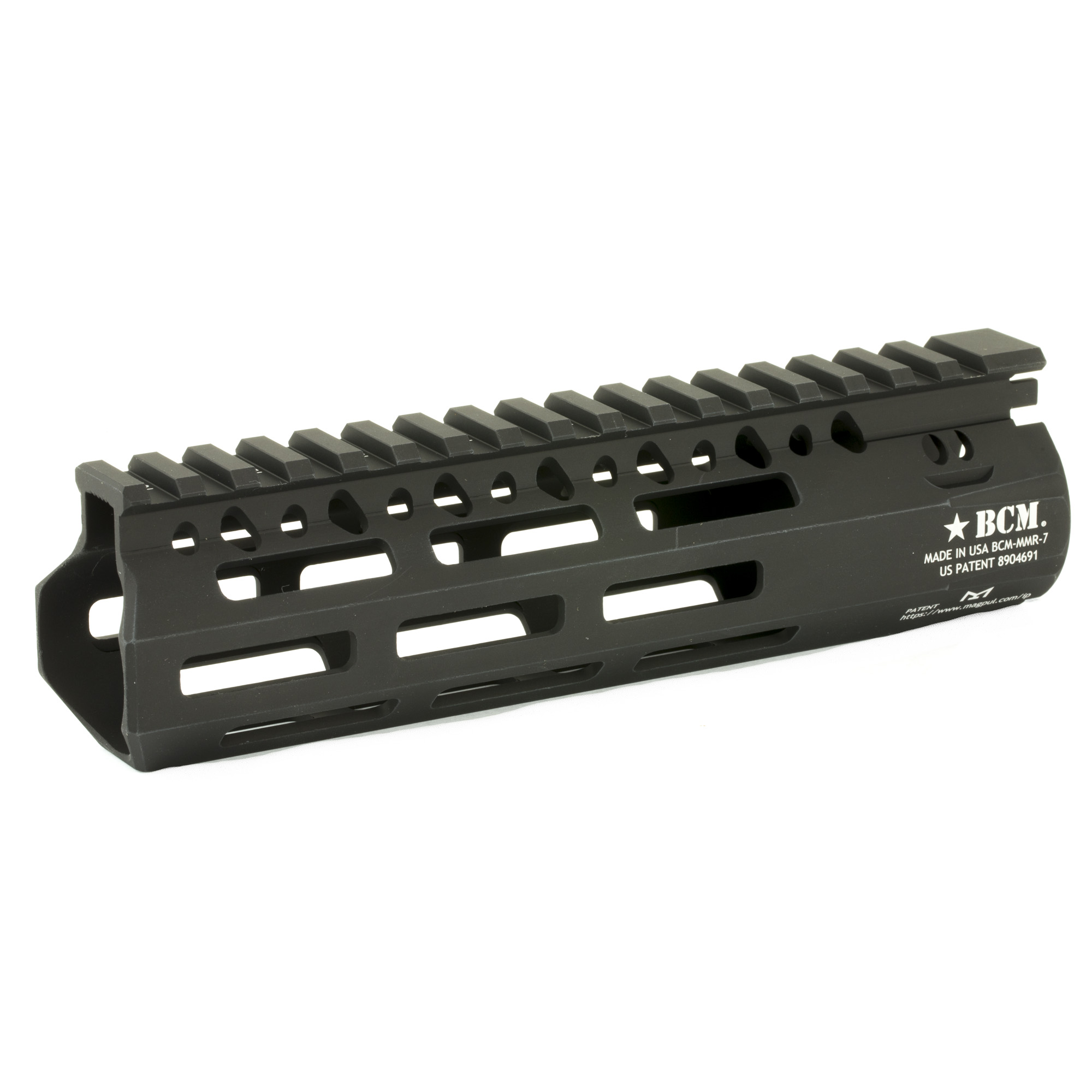 """Bravo Company's BCM MCMR-7 M-LOK Compatible Modular Rail features the same industry leading barrel nut and lock up design as originally introduced on BCM's evolutionary KMR handguard. The MCMR Series of handguards gives the shooter modularity in the M-LOK(R) platform. This proprietary patented mounting system (US Patent 8904691)"""" includes a mechanical index to the 12:00 rail and positions mounting hardware to mitigate the movement caused by heat generated by the weapon system. It is made from Precision Machined Aerospace 6061-T6 Aluminum Alloy"""" for high strength and is lightweight. The proprietary engineered profile offers additional cross sectional strength. The actual length when measured to flare is 7.39"""" and is designed to be used with a carbine length"""" mid length or rifle length gas system with a FSB or a pistol length gas system with a low profile gas block. This Free Float Handguard eliminates loads from barrel"""" reducing the deflection for more accurate shooting."""