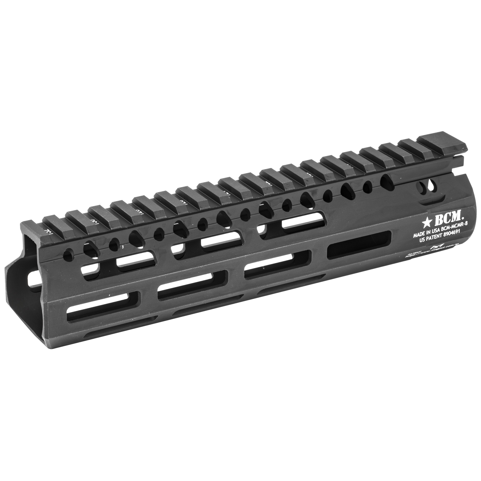 """Bravo Company's BCM MCMR-8 M-LOK Compatible Modular Rail features the same industry leading barrel nut and lock up design as originally introduced on BCM's evolutionary KMR handguard. The MCMR Series of handguards gives the shooter modularity in the M-LOK(R) platform. This proprietary patented mounting system (US Patent 8904691)"""" includes a mechanical index to the 12:00 rail and positions mounting hardware to mitigate the movement caused by heat generated by the weapon system. It is made from Precision Machined Aerospace 6061-T6 Aluminum Alloy"""" for high strength and is lightweight. The proprietary engineered profile offers additional cross sectional strength. The actual length when measured to flare is 8.39"""" and is designed to be used with a pistol length or carbine length gas system with a low profile gas block. This free float handguard eliminates loads from barrel"""" reducing the deflection for more accurate shooting."""