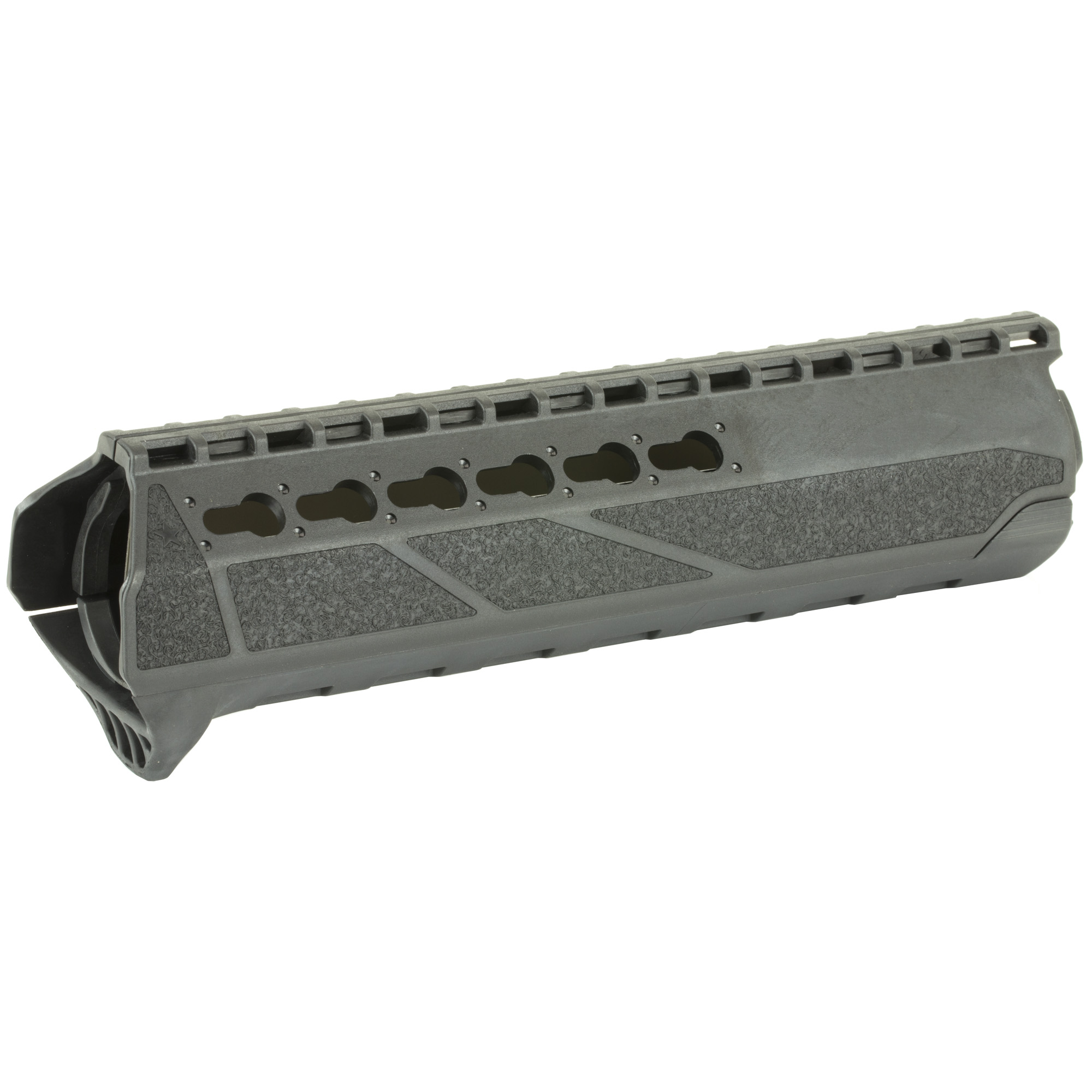 """Bravo Company's BCMGUNFIGHTER PKMR (Polymer KeyMod Rail) Mid Length is a direct replacement handguard featuring a simple drop in design. It is for AR15's with a mid-length gas system and mil-spec front sight base. With its natural ergonomics"""" it is slim"""" comfortable and lightweight. It has an aggressively textured area for enhanced traction and a reinforced KeyMod interface for durable accessory support. The aluminum heat shield reduces heat transfer to the handguard and shooters hand. Made in the USA."""